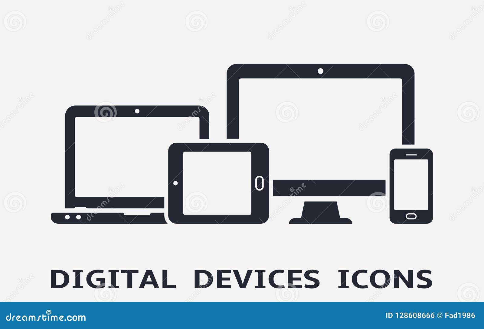 Przyrząd ikony: mądrze telefon, pastylka, laptop i komputer stacjonarny, Wyczulony sieć projekt