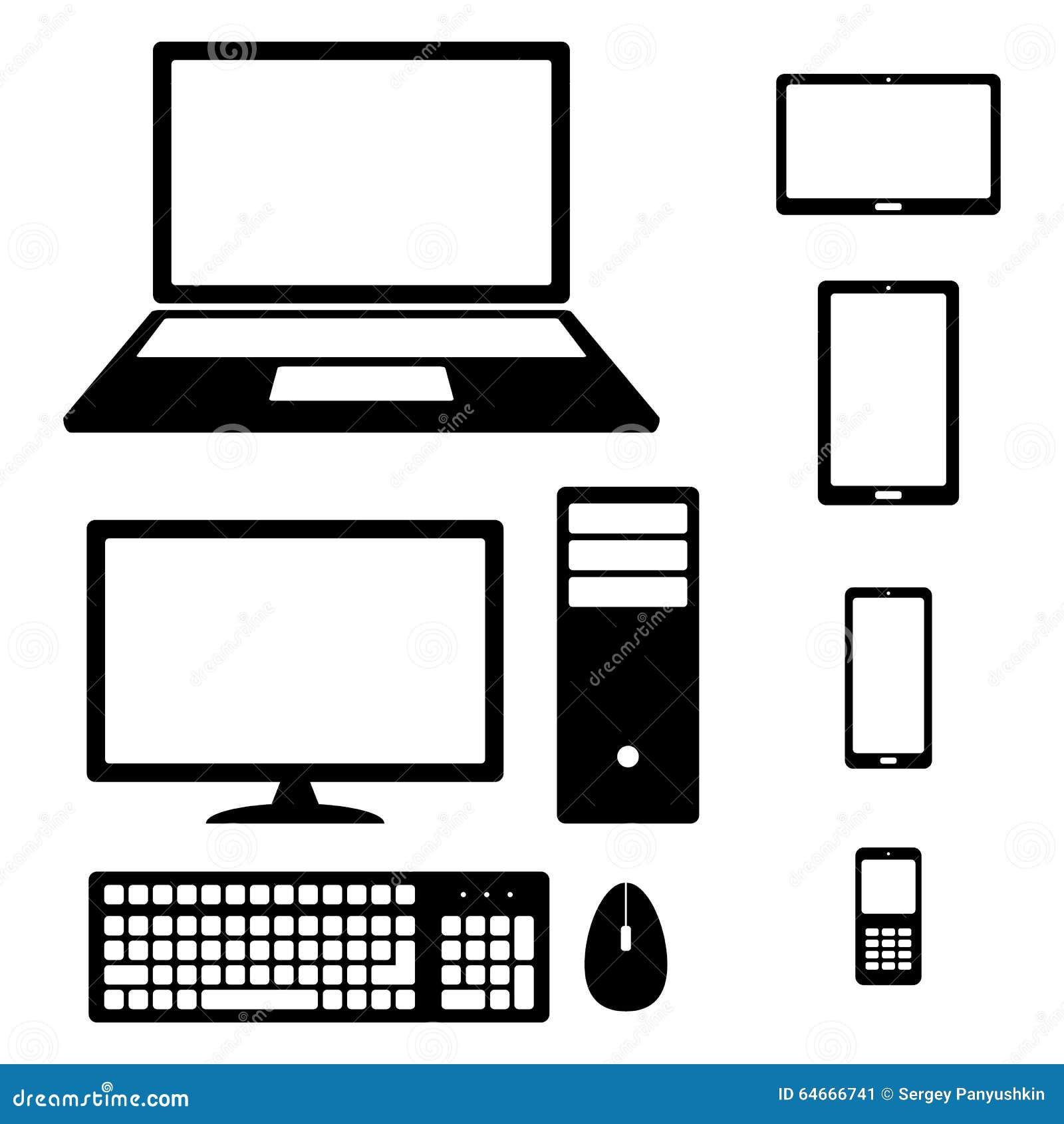 Przyrząd ikony smartphone, pastylka, laptop, komputer stacjonarny, telefon, klawiatura i mysz,