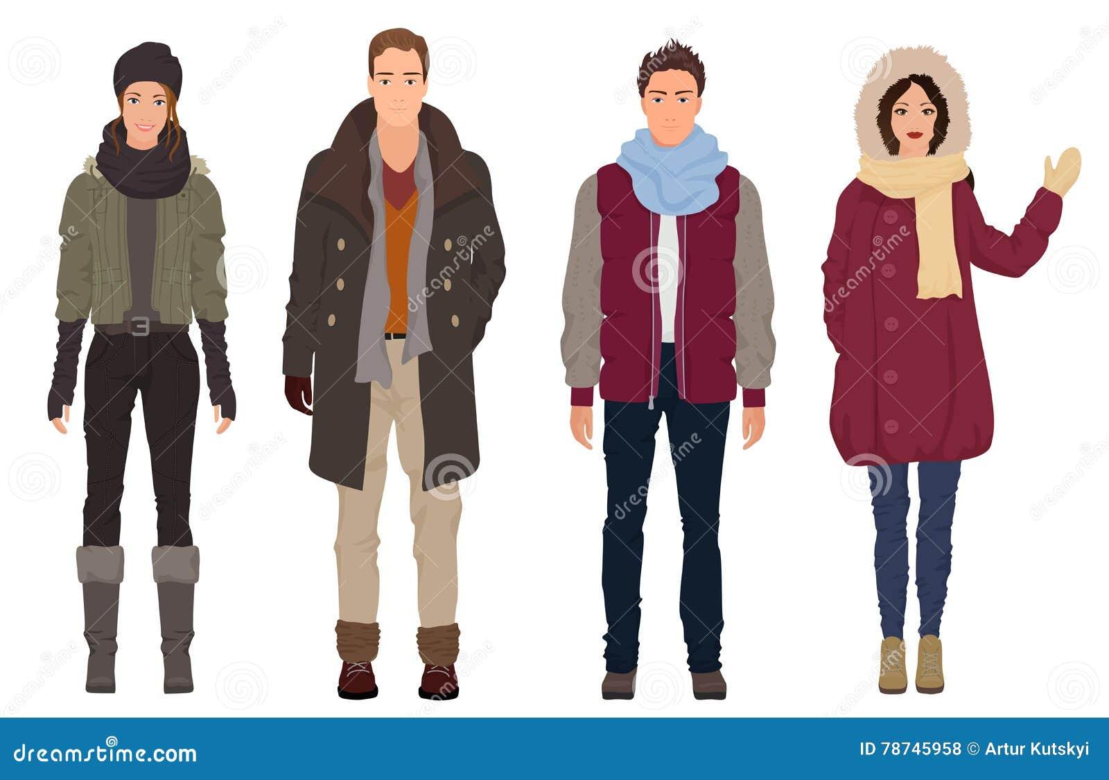 Przystojni młodzi faceci z pięknymi dziewczyna modelami w zimie grżą przypadkową nowożytną modę odziewają Ludzie par