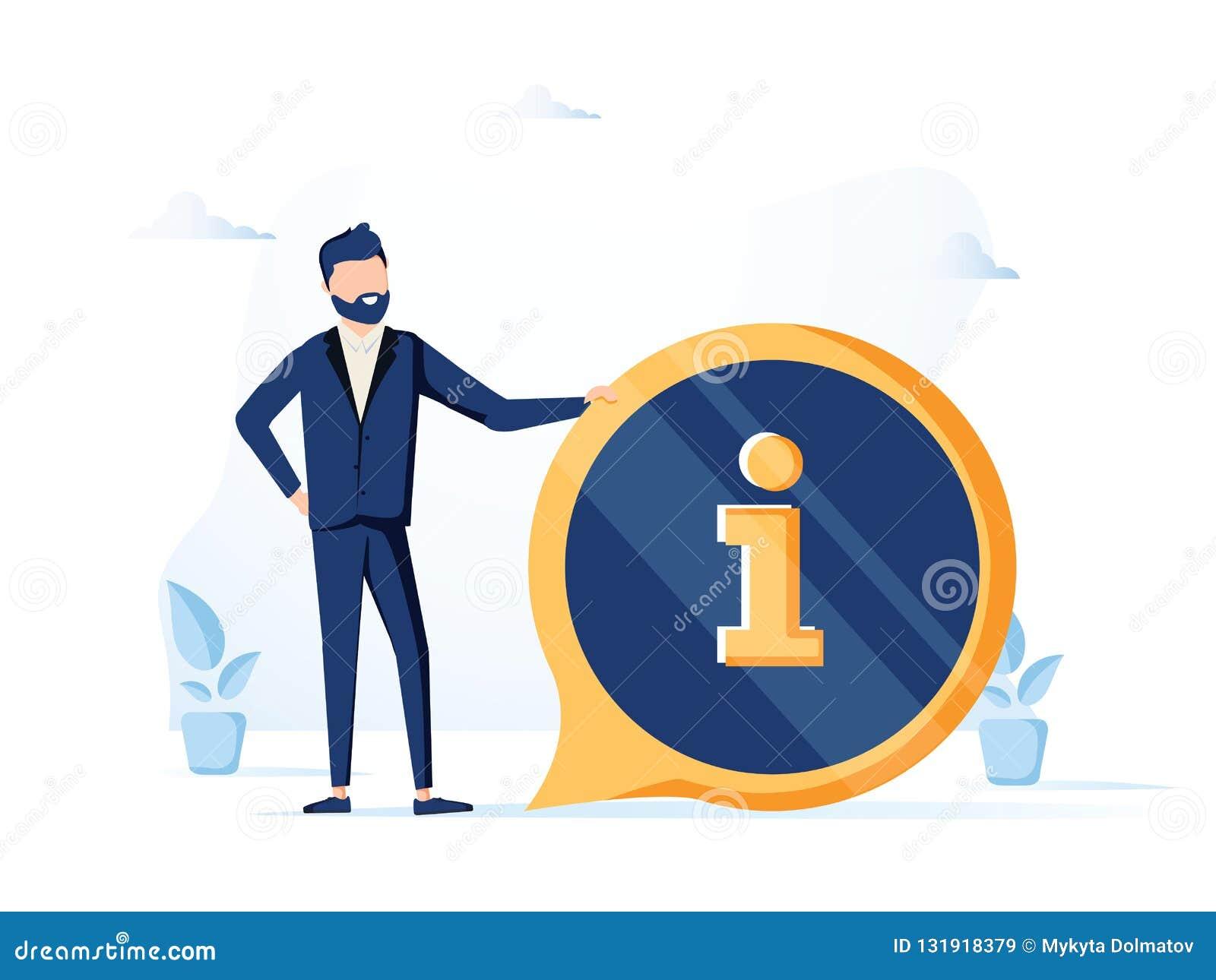Przystojny biznesmena i informacji znak Informacji, FAQ, zawiadomienia i reklamy pojęcie, sztandar dla strony internetowej