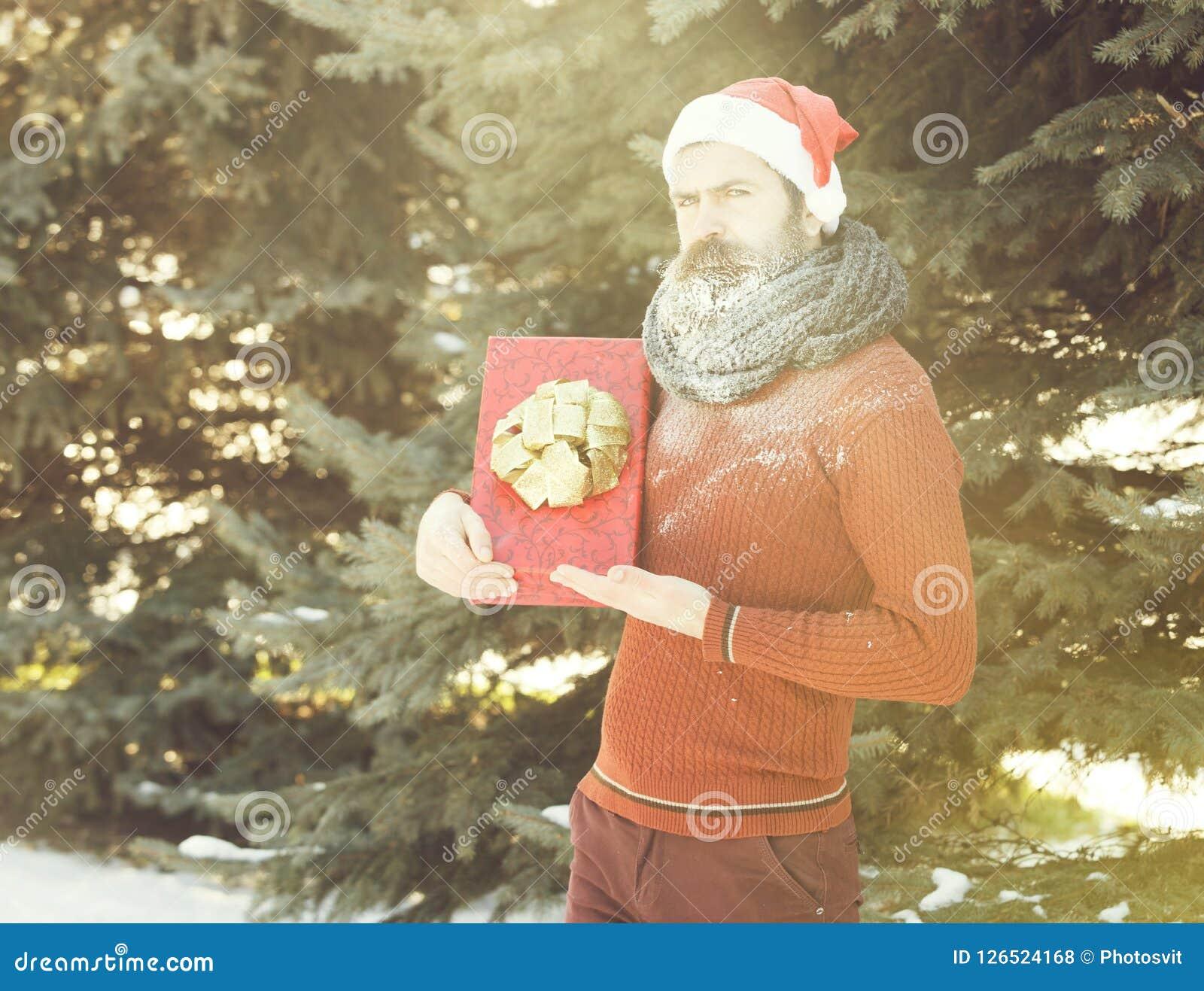 Przystojny mężczyzna w Santa Claus kapeluszu, brodatym modnisiu z brodą i wąsie zakrywającym z białym mrozem, trzyma czerwonego p