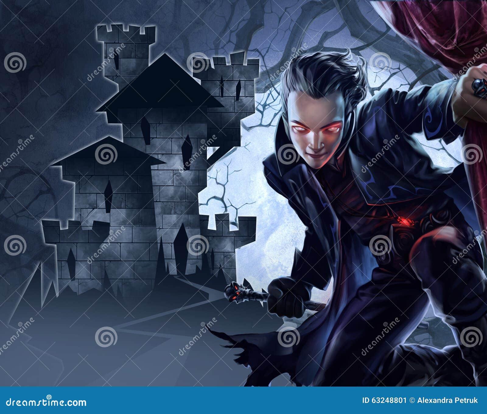 Przystojny męski wampir