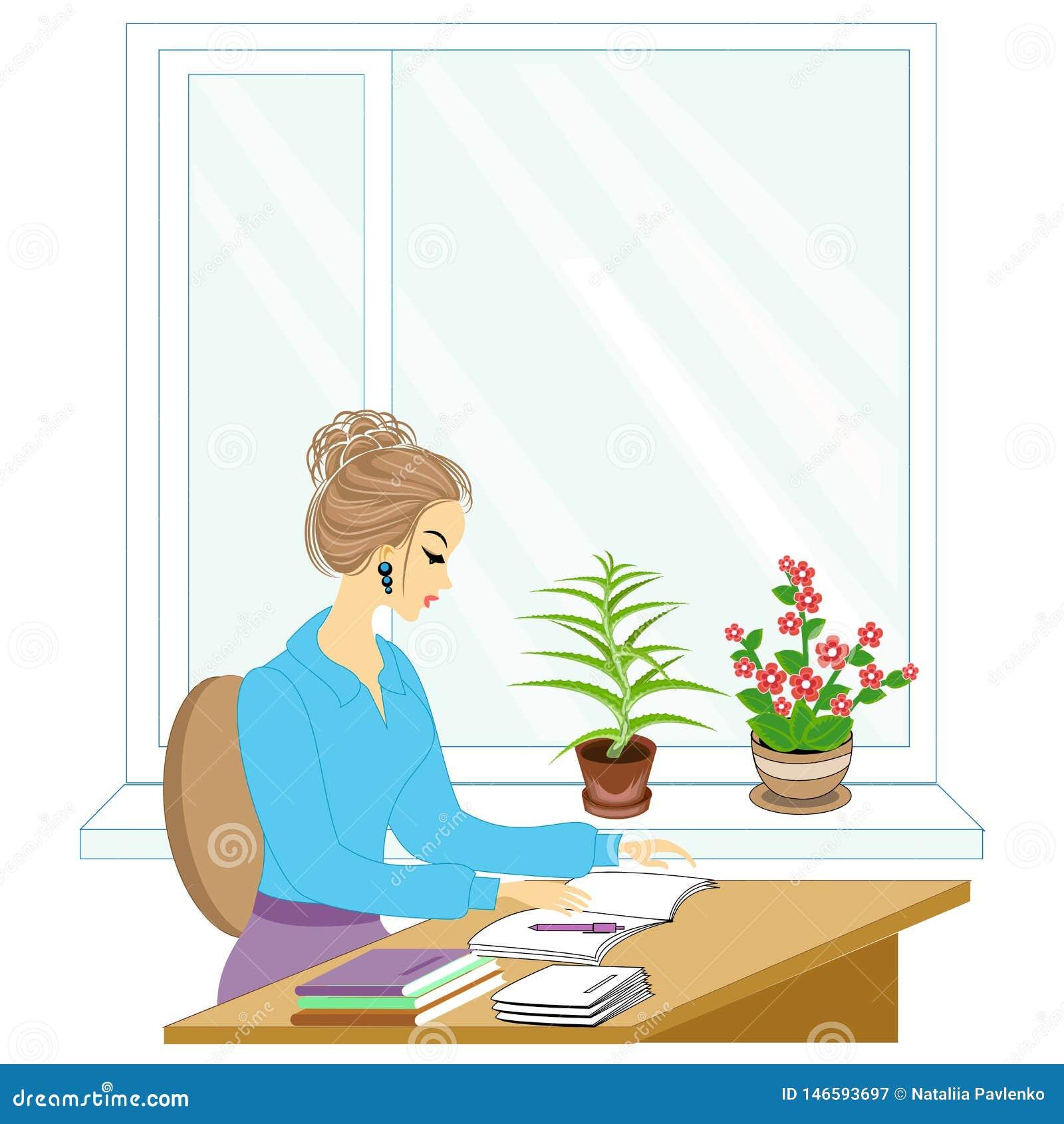 Przystojny m?ody nauczyciel Dziewczyna siedzi przy sto?em blisko okno Kobieta pisze w klasowym czasopi?mie r?wnie? zwr?ci? corel