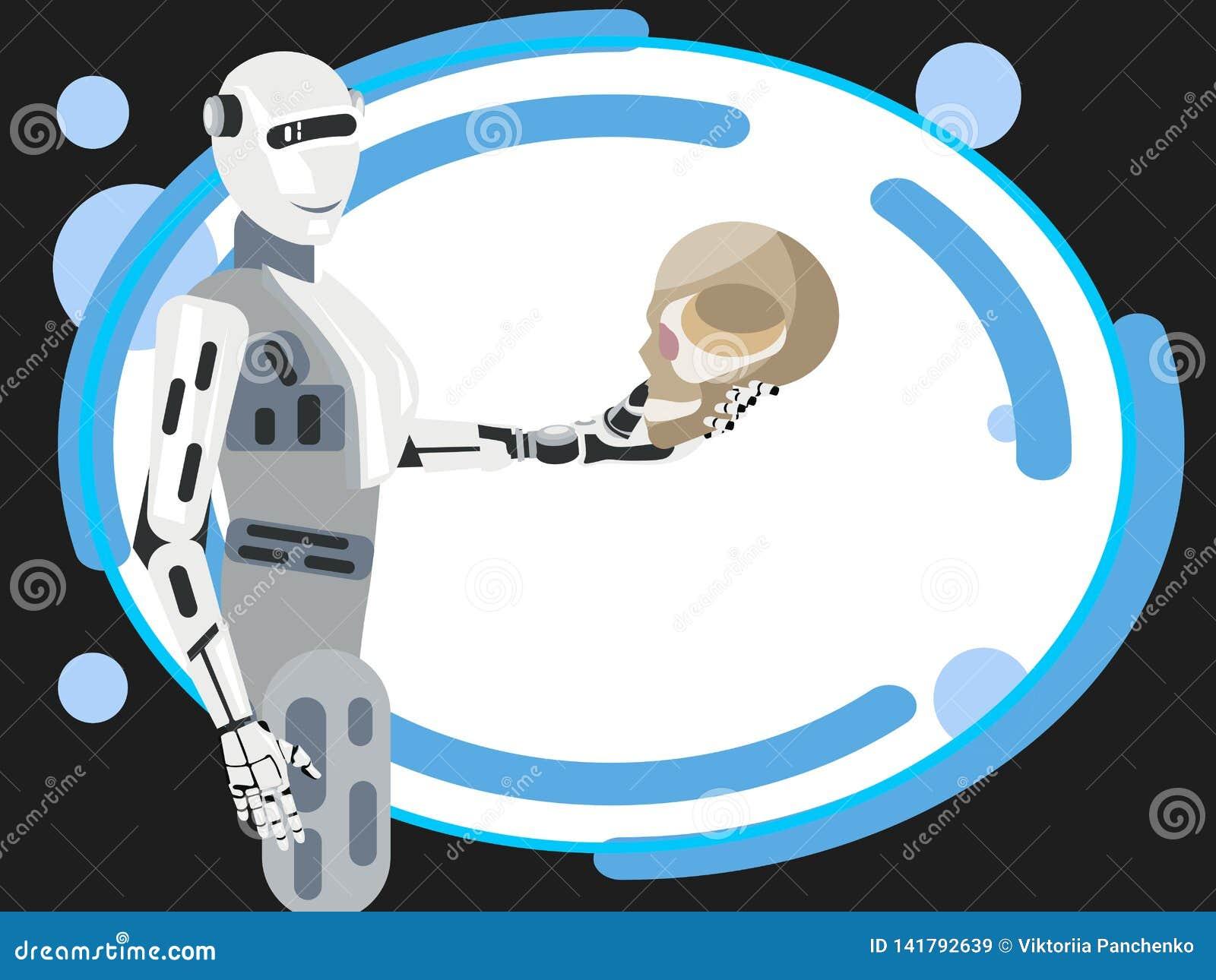 Przyszłość ludzkość trzyma ludzką czaszkę robot W minimalisty stylu kreskówki mieszkania wektorze