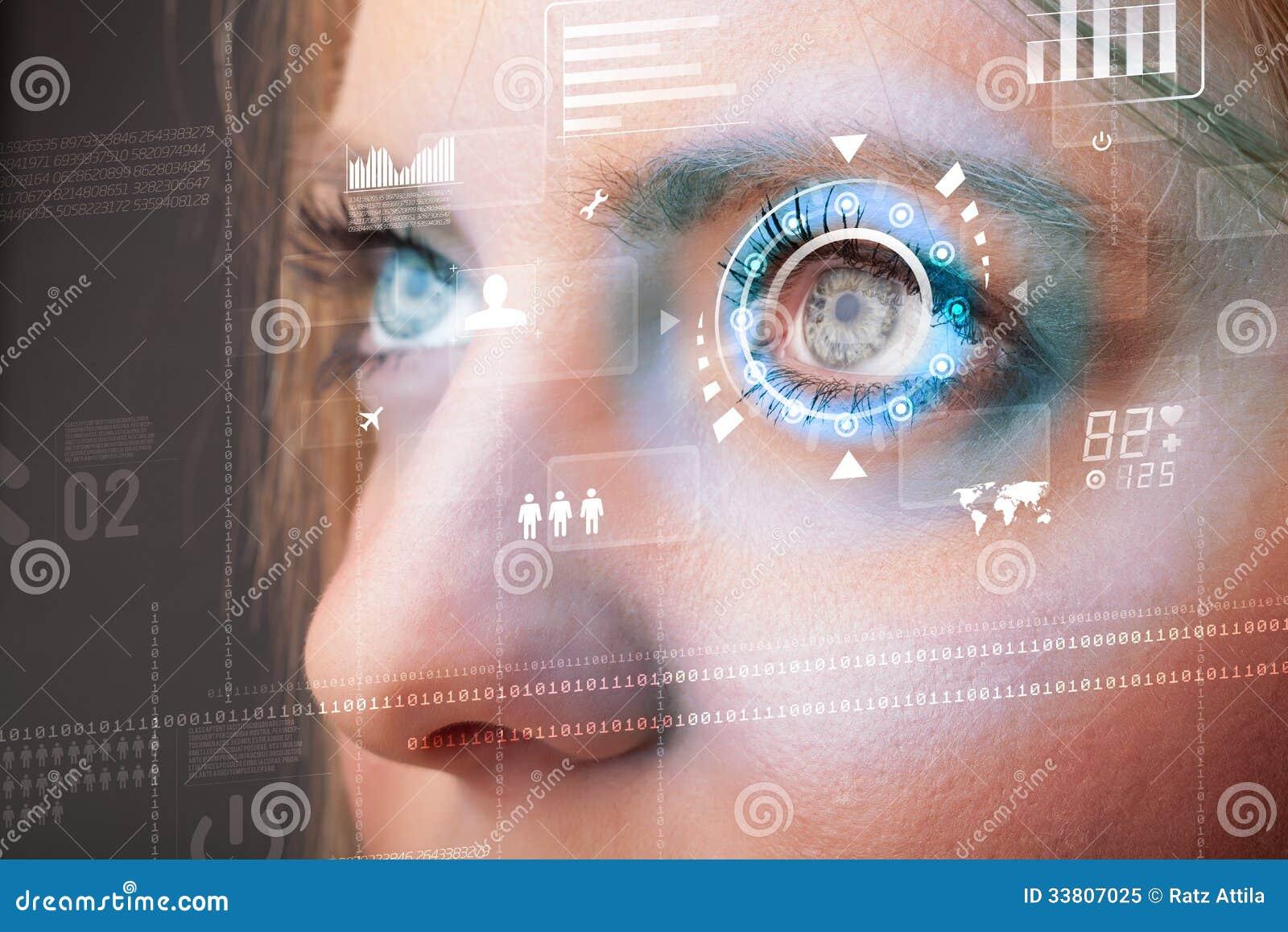 Przyszłościowa kobieta z cyber technologii oka panelem