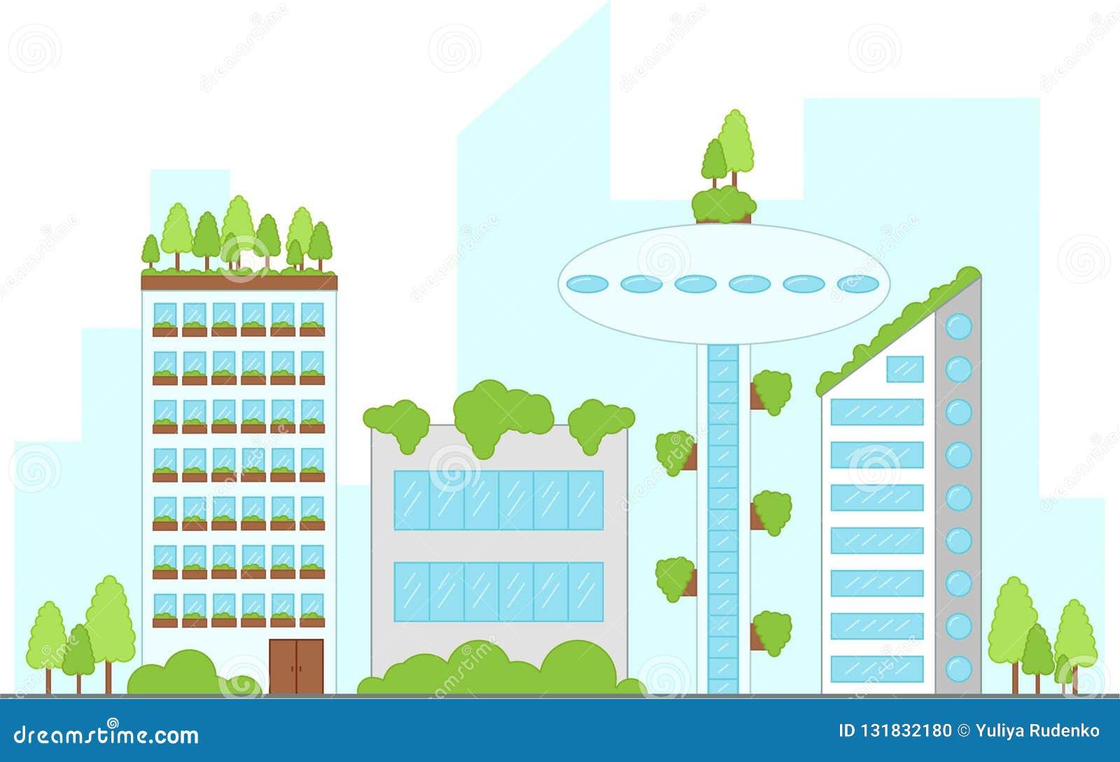 Przyszłościowy miastowy krajobraz z budynkami również zwrócić corel ilustracji wektora