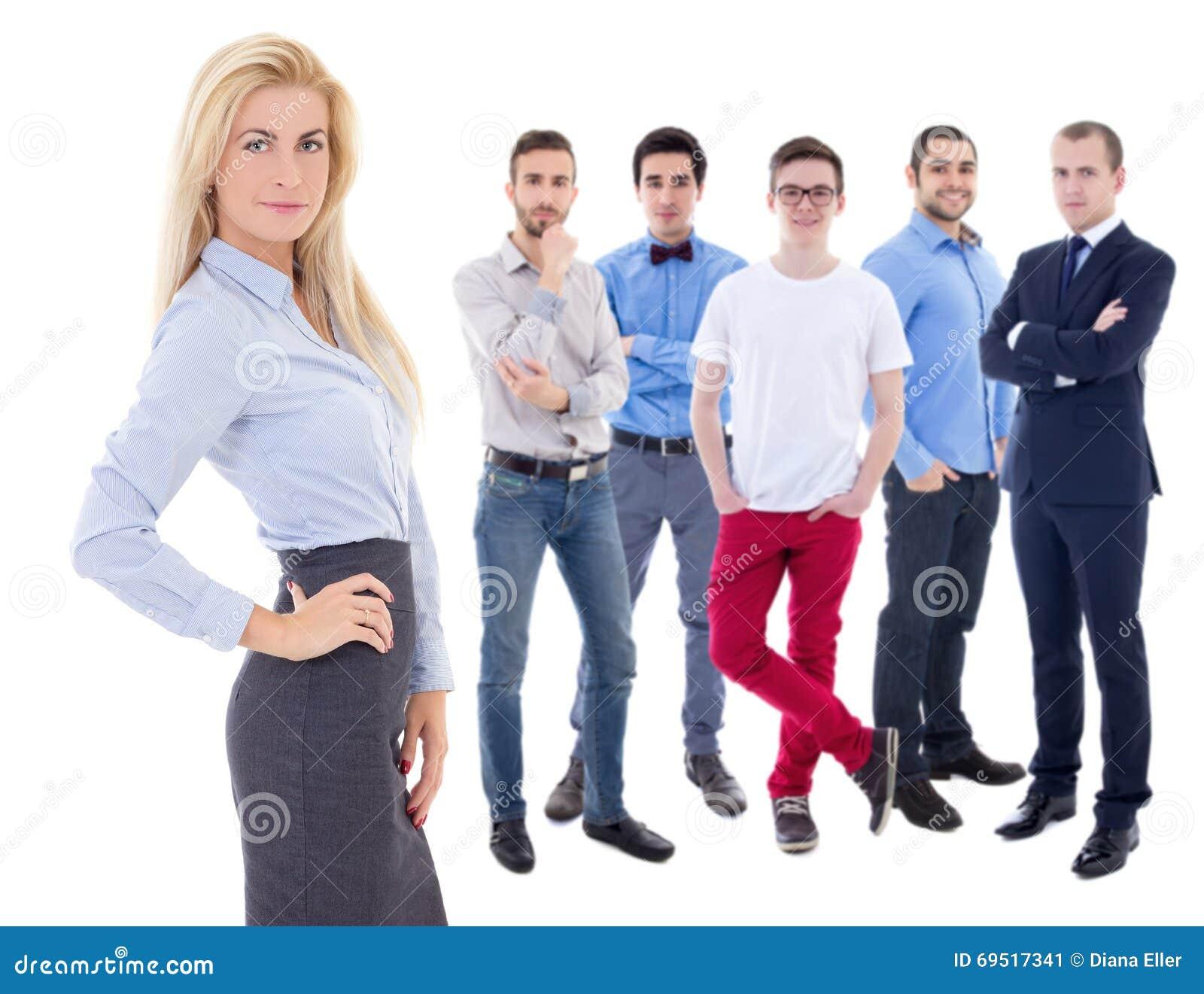 Przywódctwo pojęcie - młody piękny biznesowej kobiety szef i ona