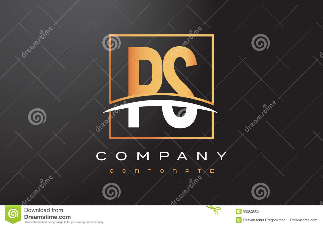 Ps P S Golden Letter Logo Design With Gold Square And Swoosh Stock