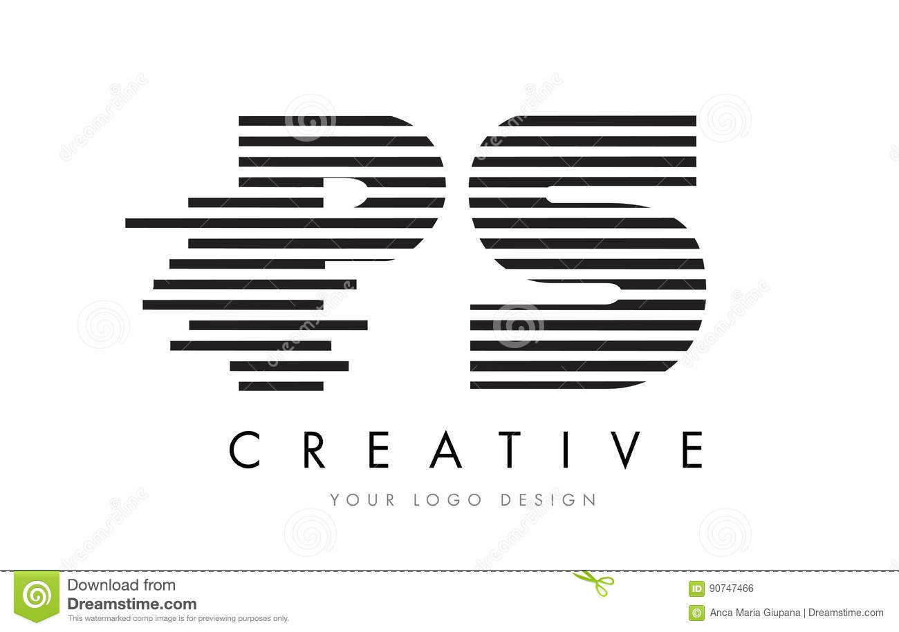 Ps P S Zebra Letter Logo Design With Black And White Stripes Stock