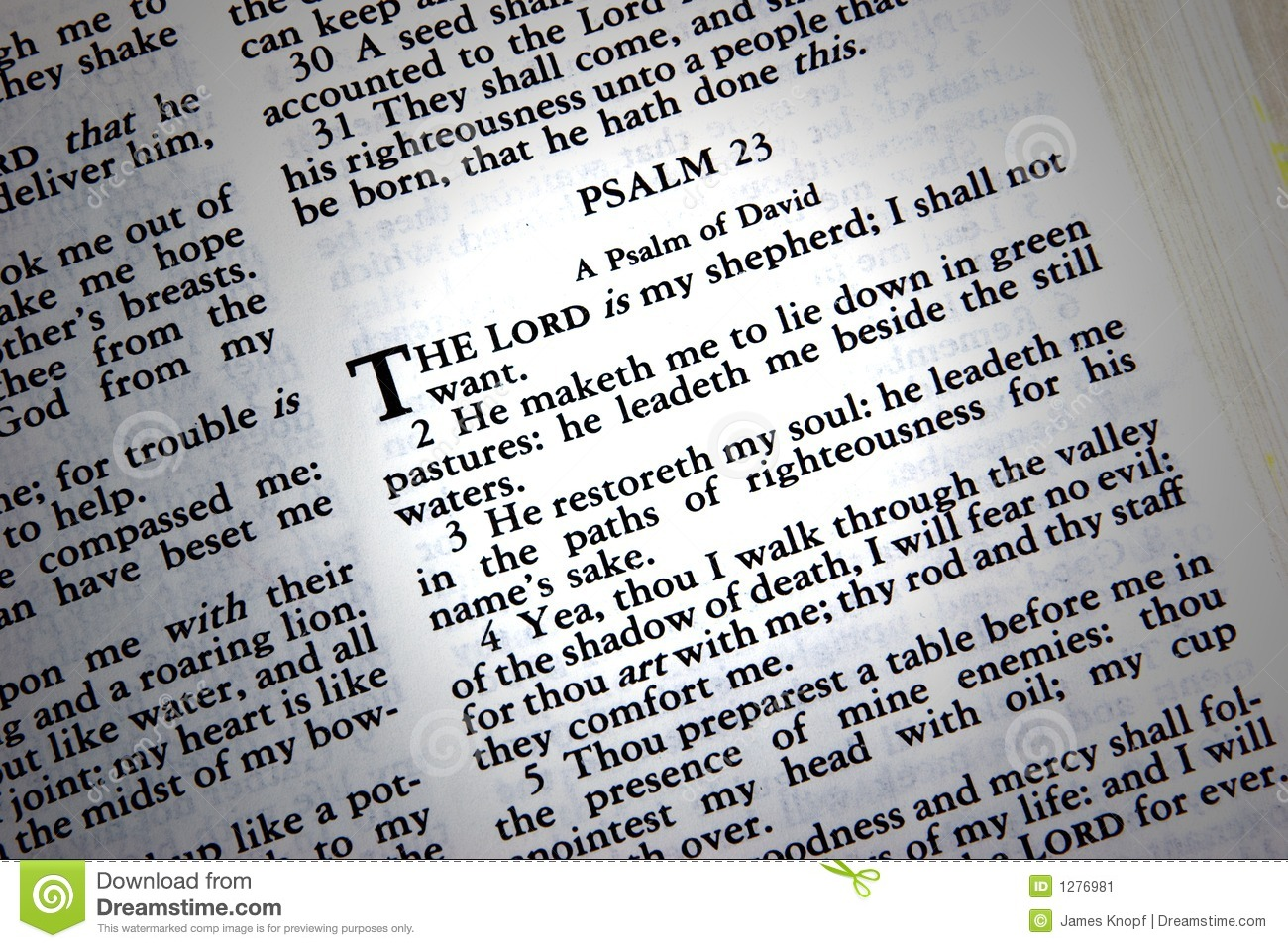 bible open to the 23rd chapter of Psalm.