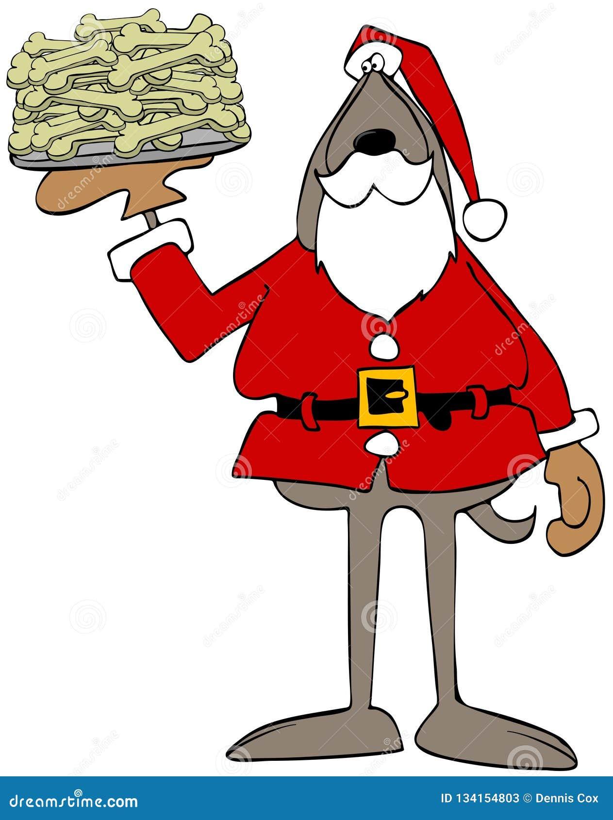 Psi Święty Mikołaj trzyma talerza kości