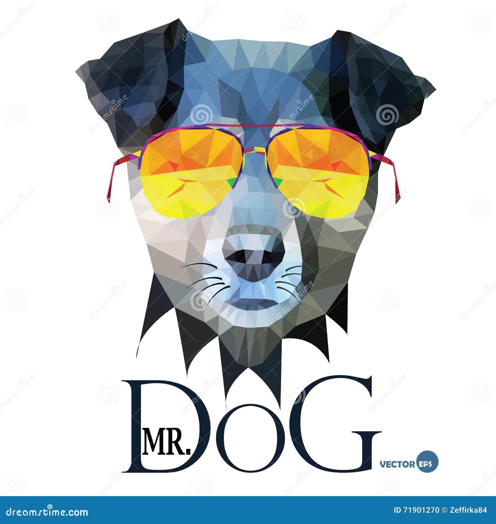 Psi modnisia mężczyzna, Mr Psi Terrier w szkłach, mody spojrzenia zwierzęcy ilustracyjny portret w poligonalnym stylu, odizolowyw