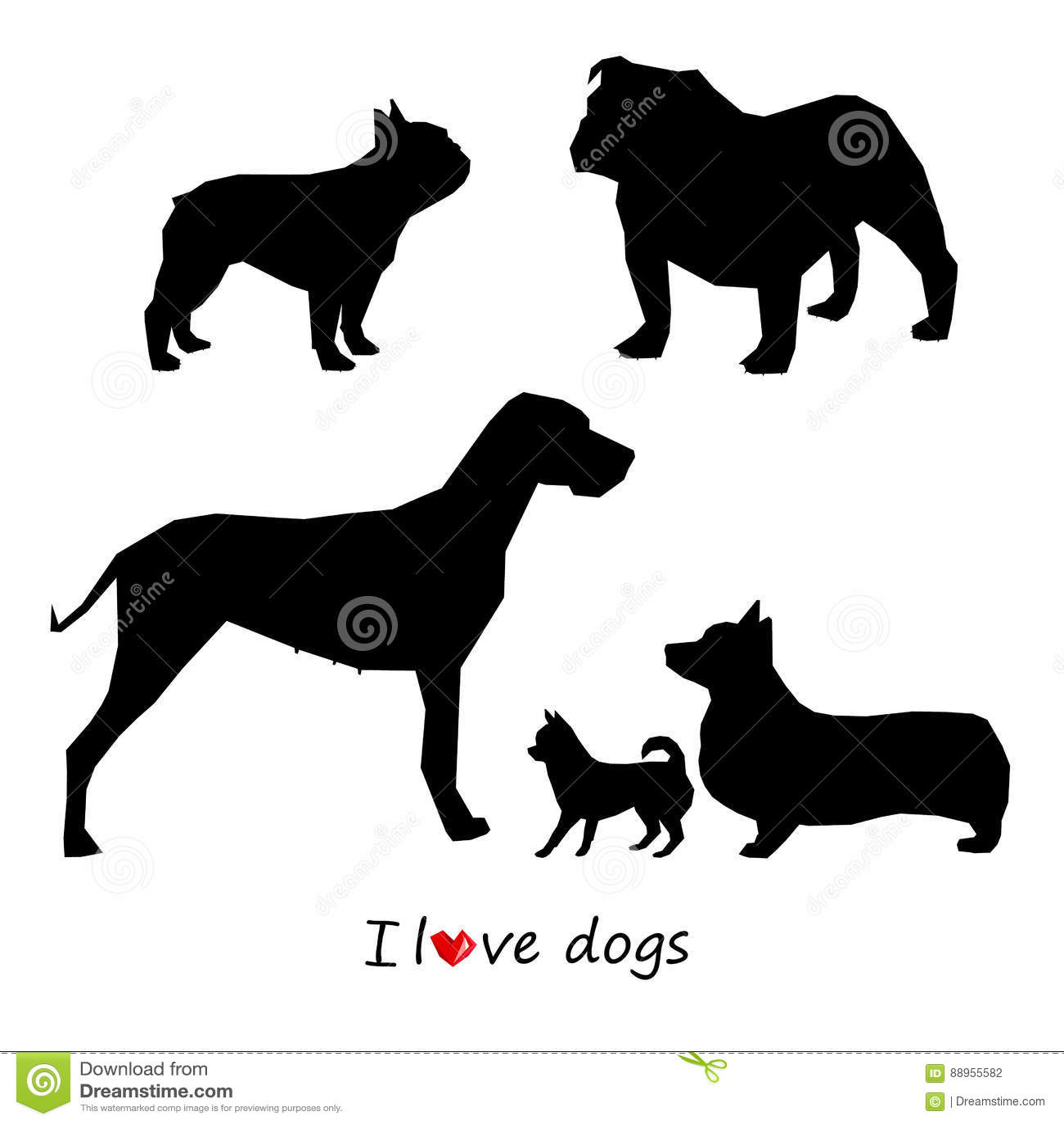 Psi zwierzęcy szczeniaka zwierzęcia domowego wektoru czerń