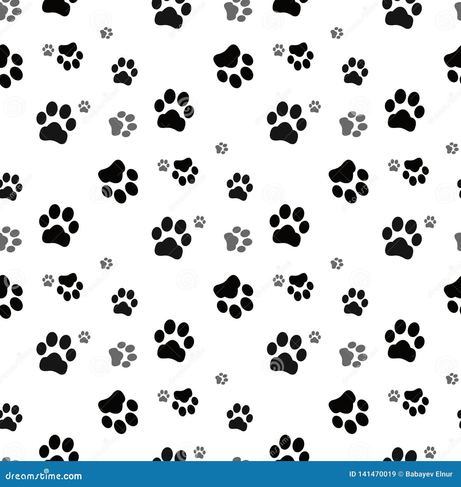 Psia łapa bezszwowa Kot łapy psa łapy figlarki wektorowy Bezszwowy Deseniowy tapetowy tło