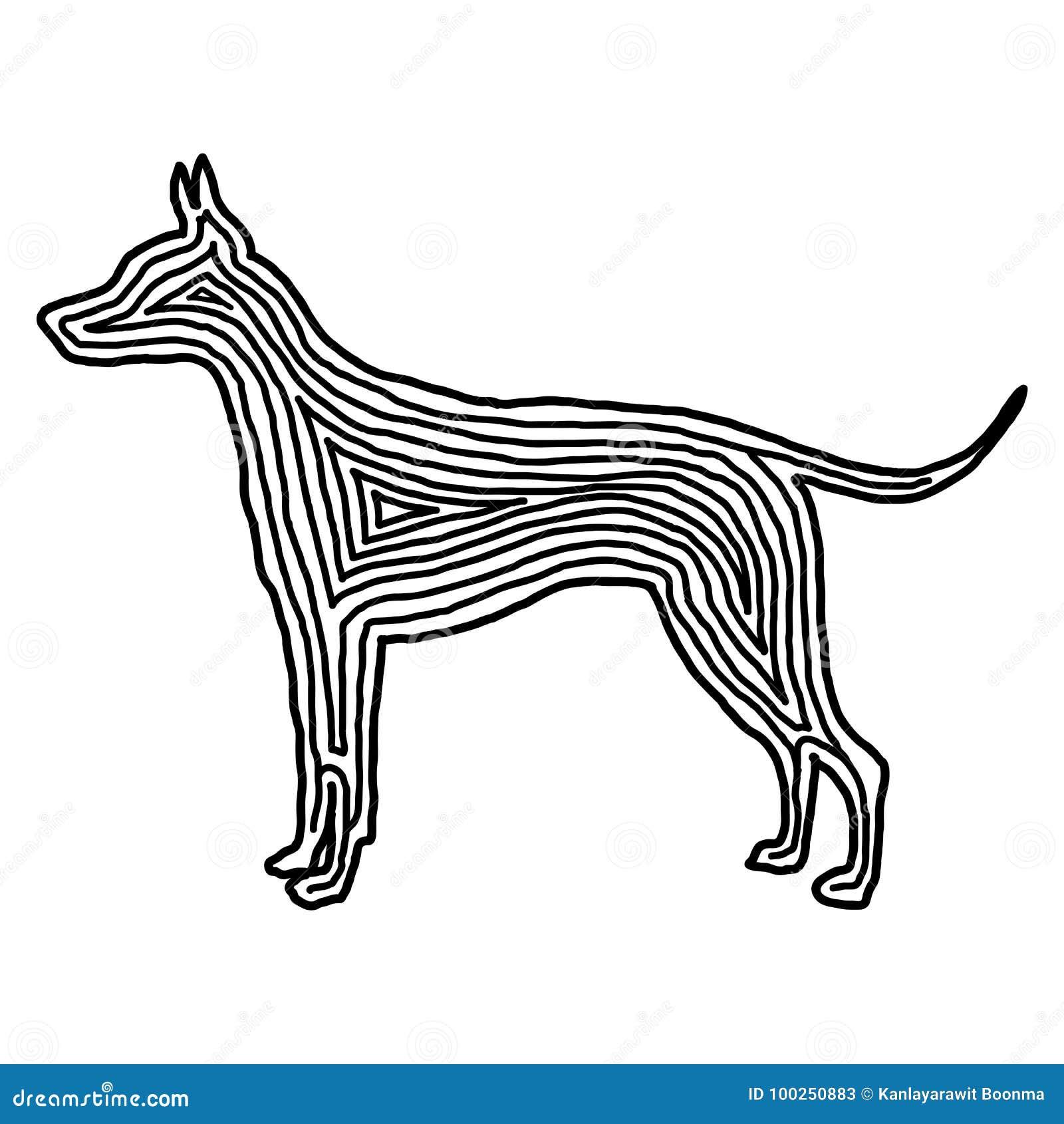 Psia ilustracyjna ikona w czerni odsadzki linii Odcisku palca styl