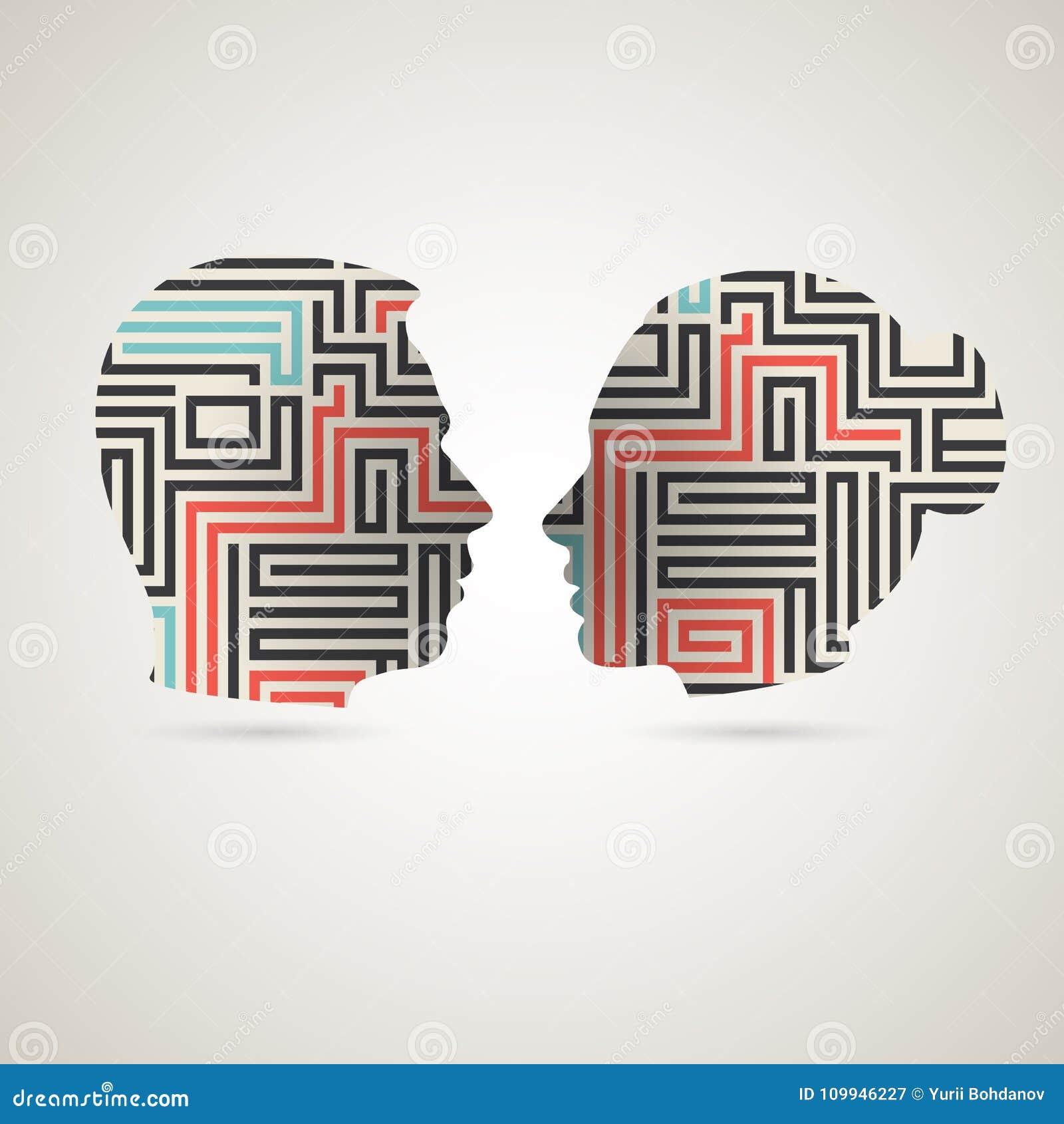 Psicologia relationship11 del vicecapo e della donna della siluetta