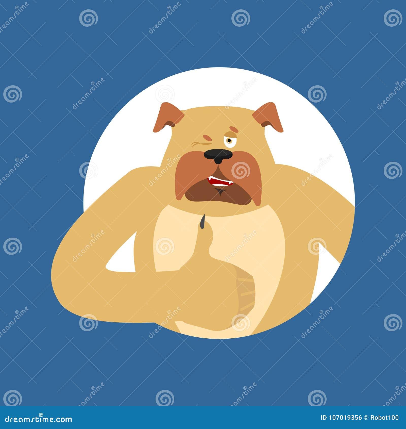 Psie aprobaty i mrugnięcia Zwierzęcia domowego szczęśliwy emoji Buldoga wektoru illustr