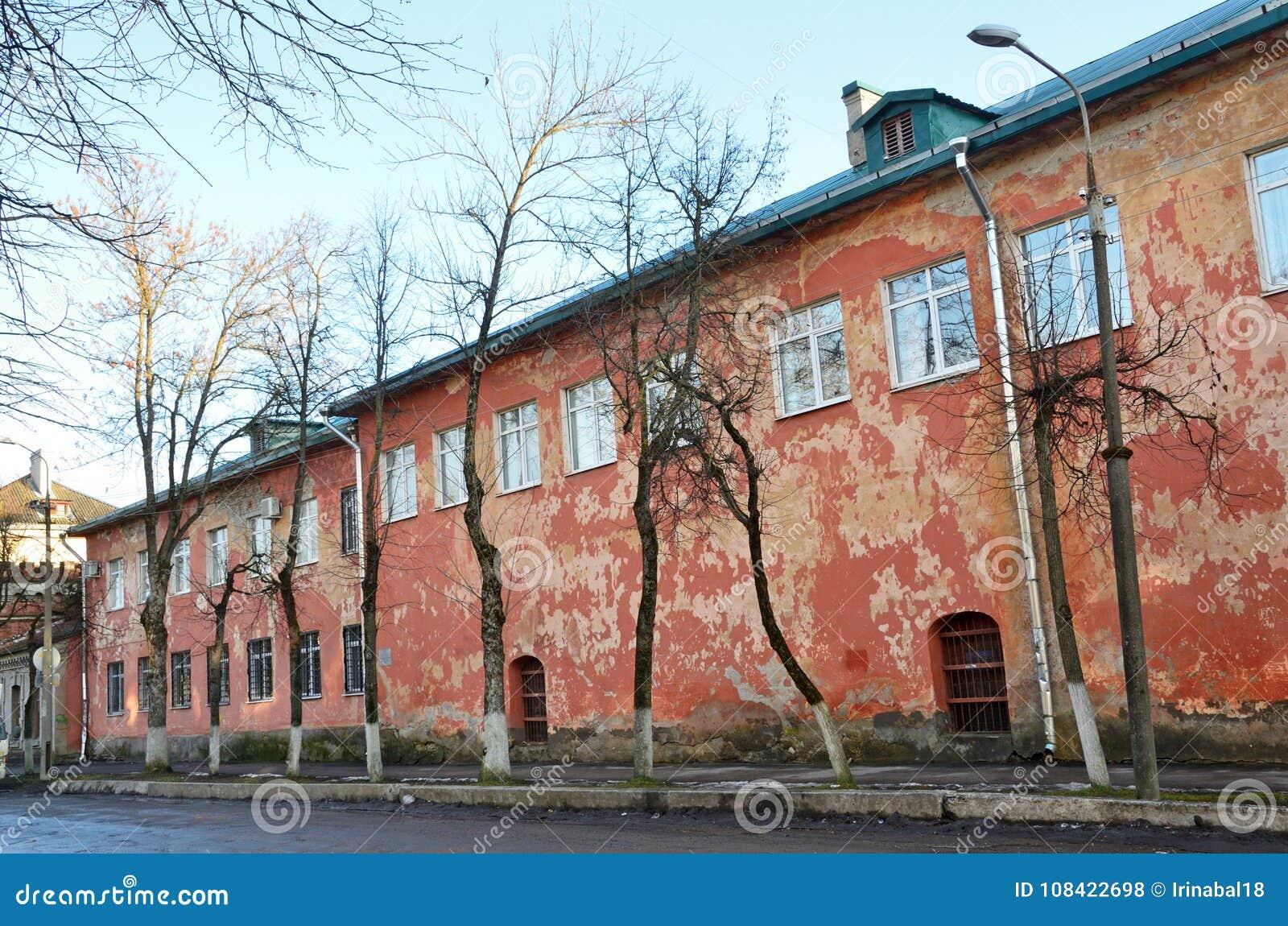 Russia, Pskov, monument of architecture - chambers of Kruzhechny yard on Sennaya niva Kerosene warehouse 1686 year built. Street