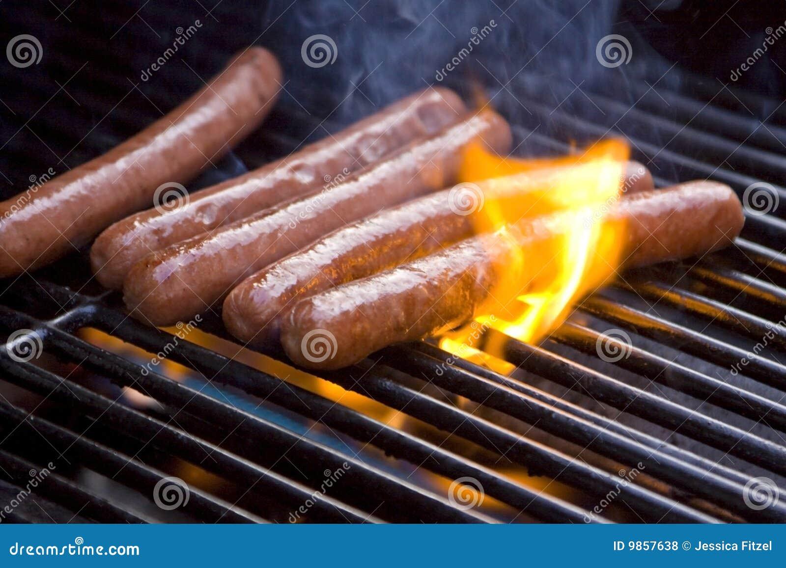 Psy piec na grillu gorącego