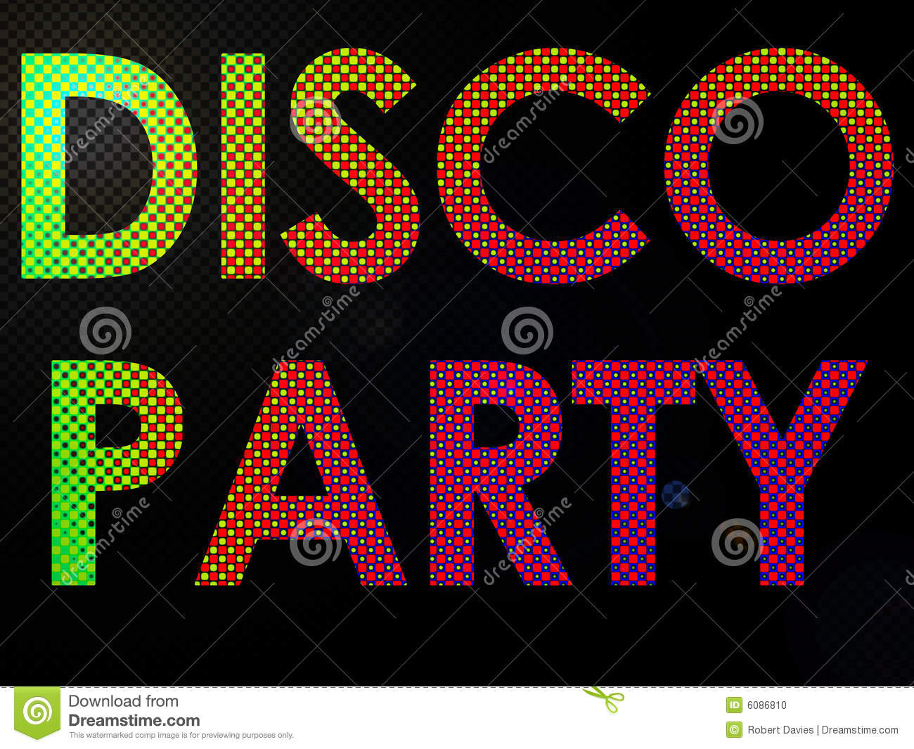 Psychadelic led lights disco party sign text stock photo image