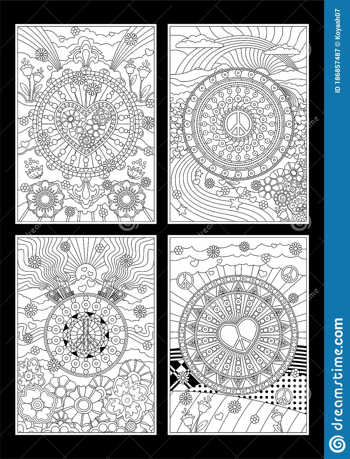 Coloring Book Style Illustration Set Stock Vector Illustration Of Detail Placard 186857487