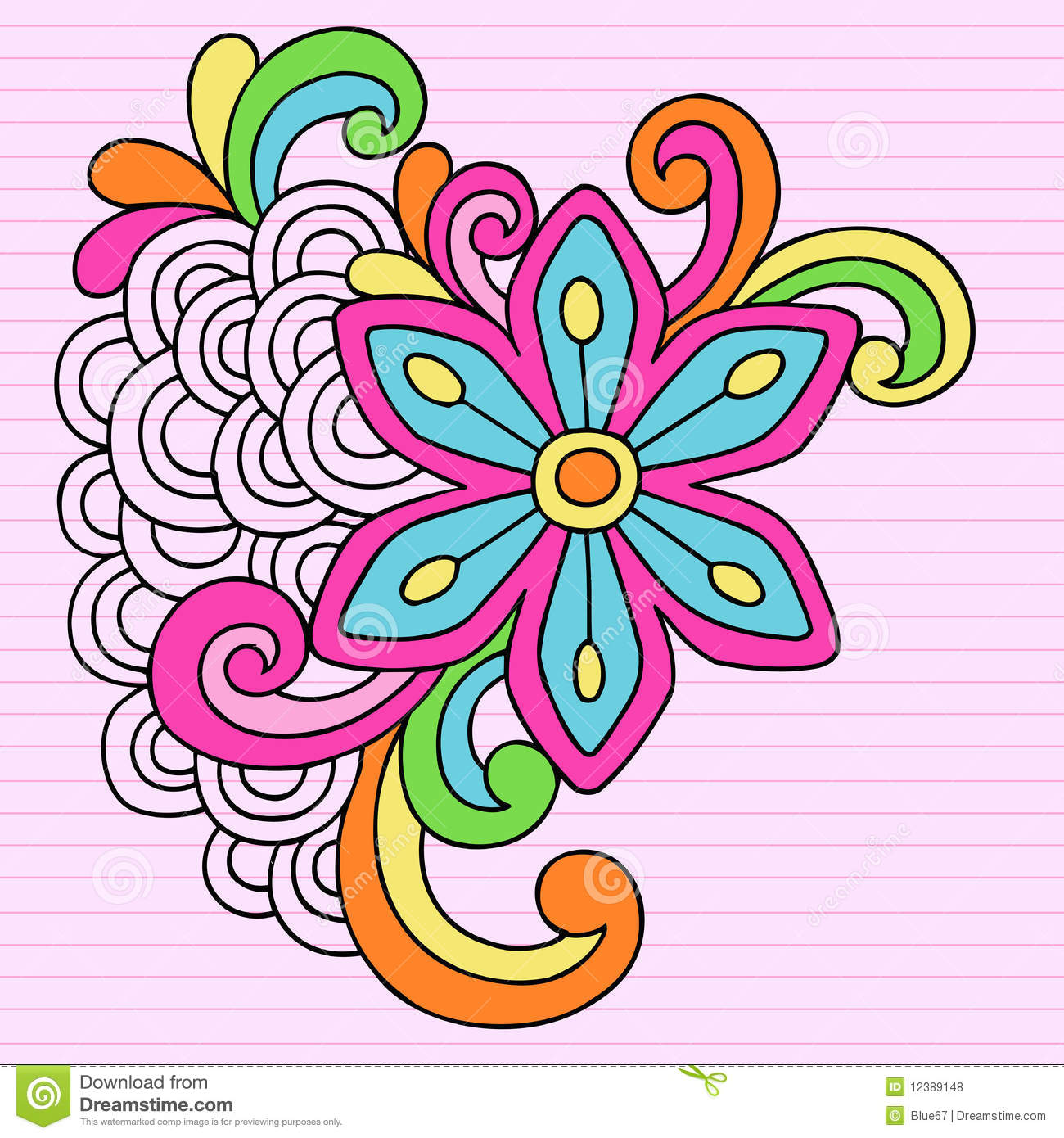 Psychedelic Big Flower Notebook Doodle Vector Stock Vector