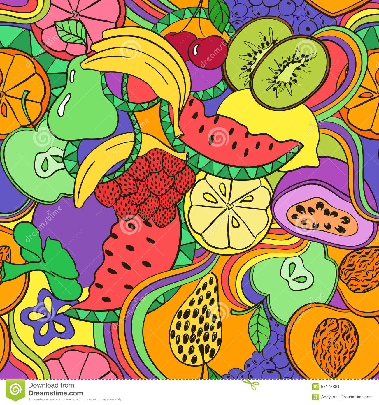 Psychedelic Colorful Fruit Seamless Pattern Funny Abstract Bright Summer Background Cartoon Fruits Berries Extended Vector Stock