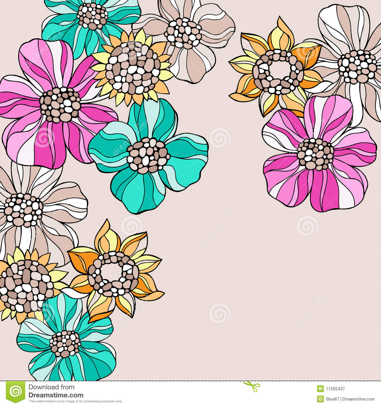 Psychedelic Fun With Garden >> Psychedelic Doodle Flowers Vector Stock Vector - Illustration of design, illustration: 11265437