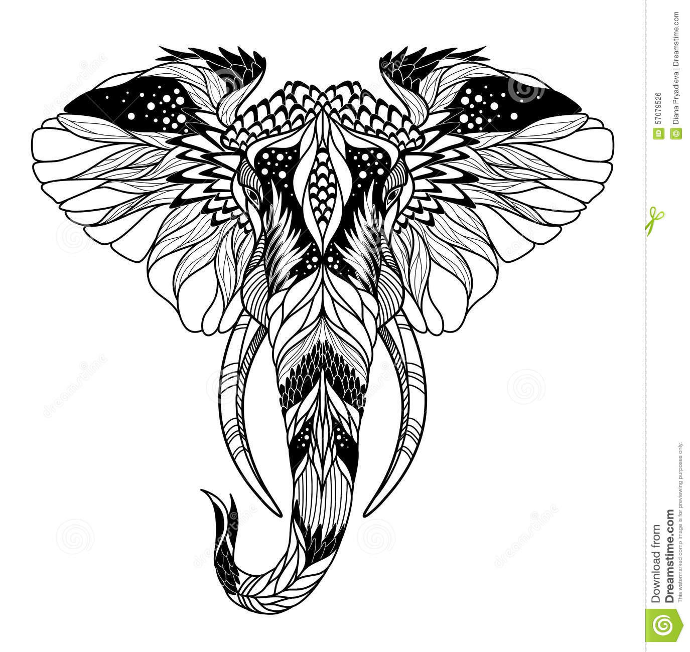 Psychedelic Elephant Head Tattoo Psychedelic Elephant Head Tattoo
