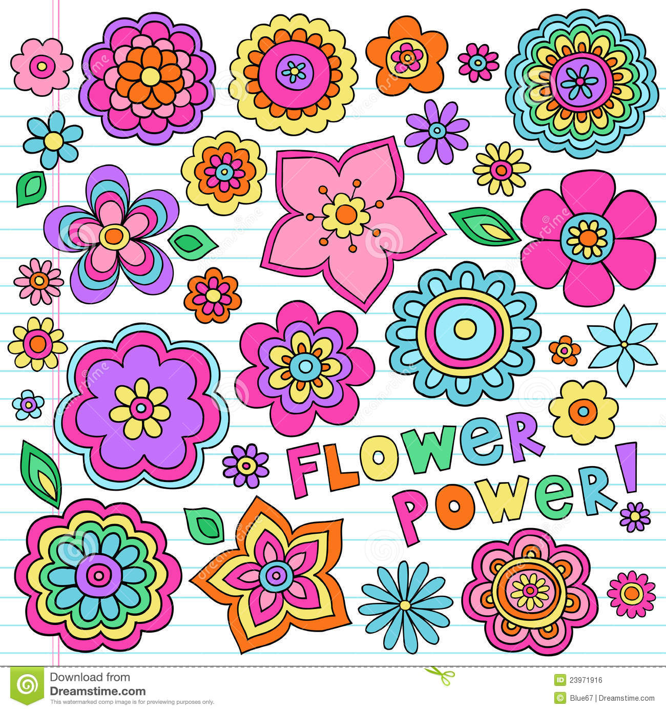 Psychedelic Flower Power Doodles Vector Set