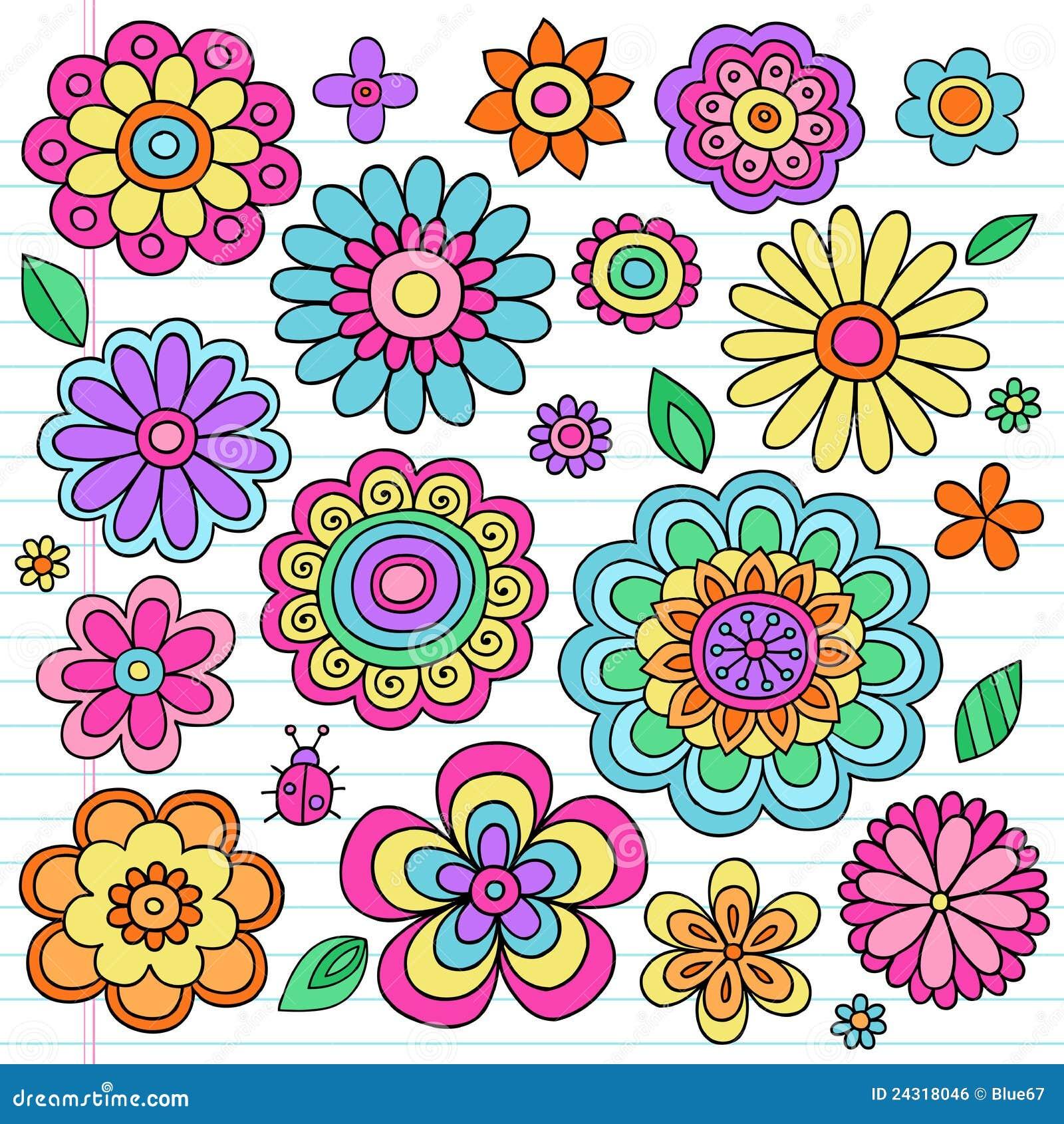 Psychedelic Flower Power Doodles Vector Set