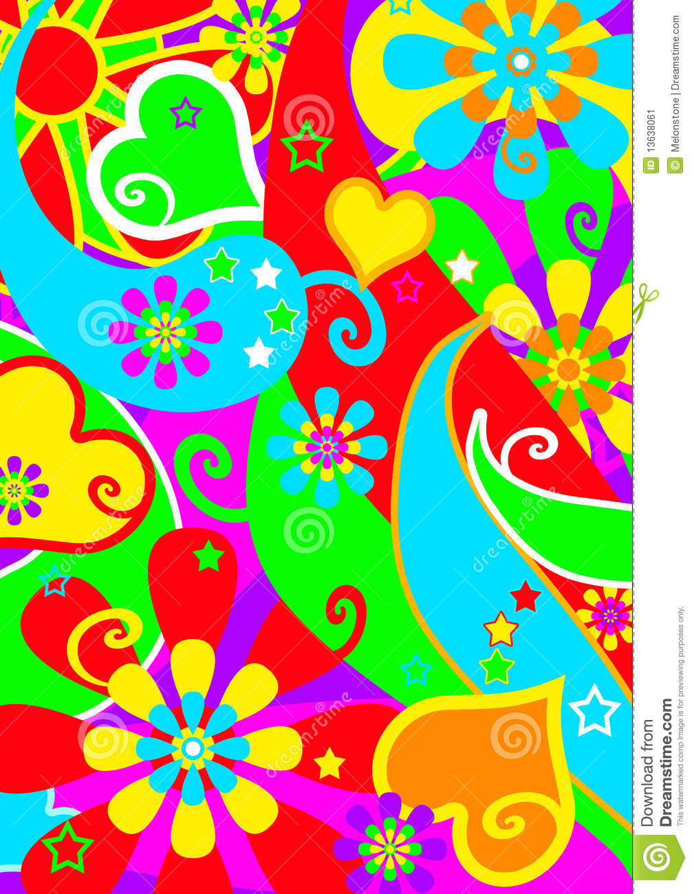 Brightly colored groovy flower-power funky pattern in a hippie style ...