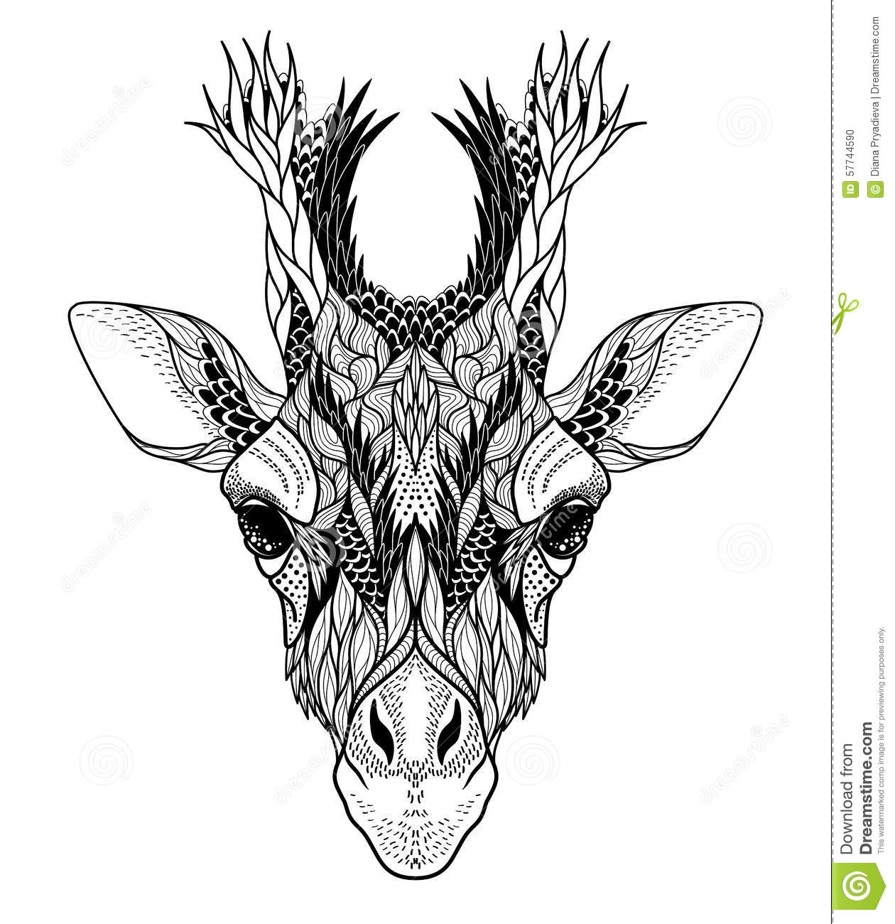 Psychedelic Giraffe Head Tattoo Stock Vector Image