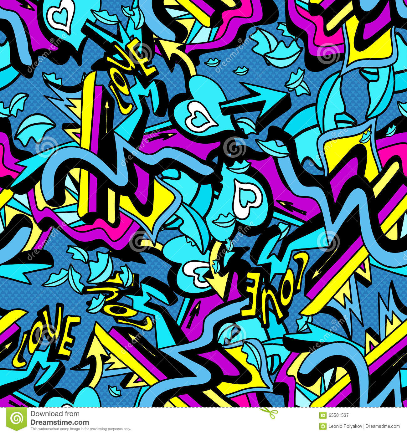 Psychedelic graffiti lines and heart on a white background - Graffitis en papel ...