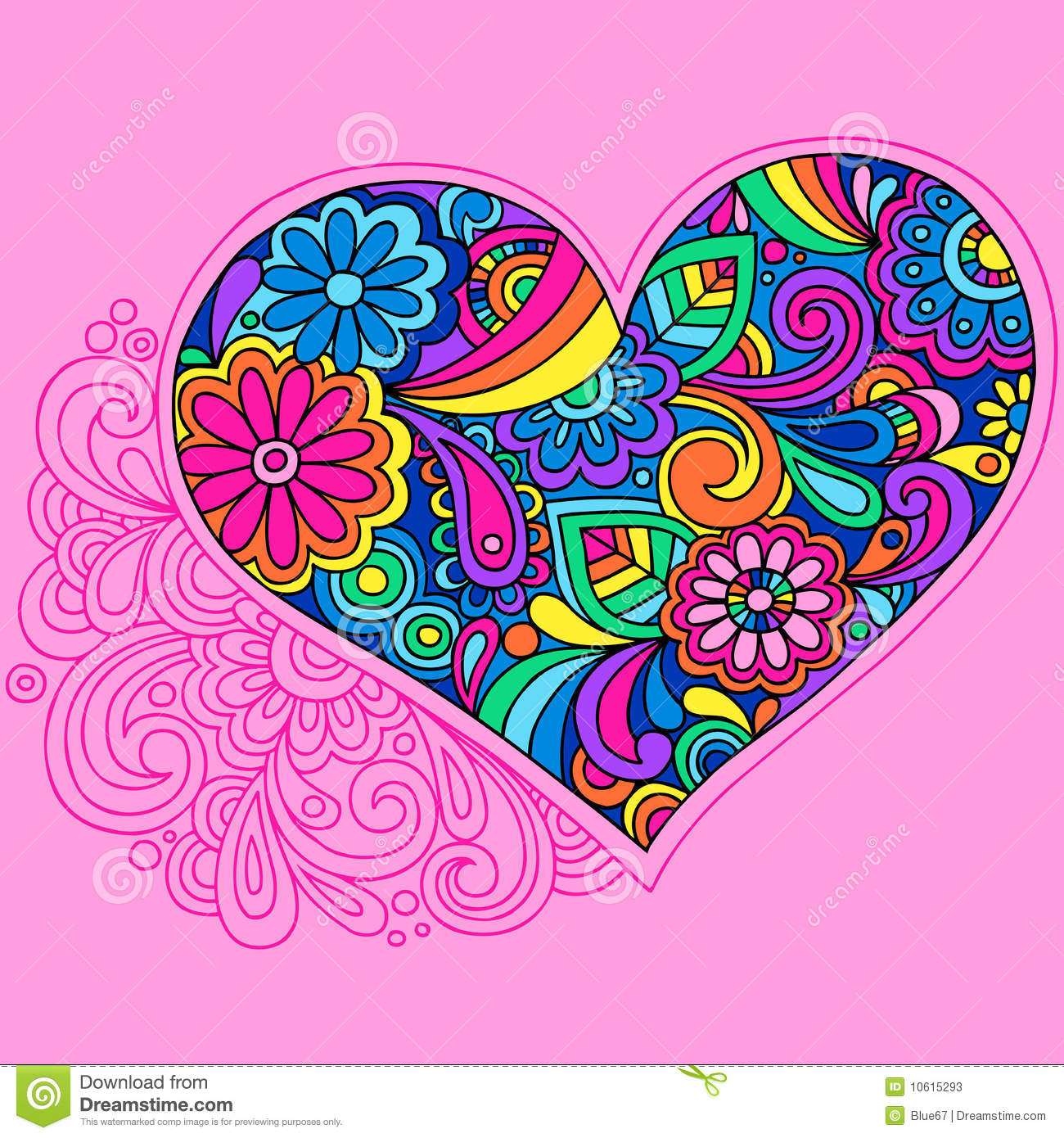 Psychedelic Heart Doodle Vector Stock Photos Image 10615293