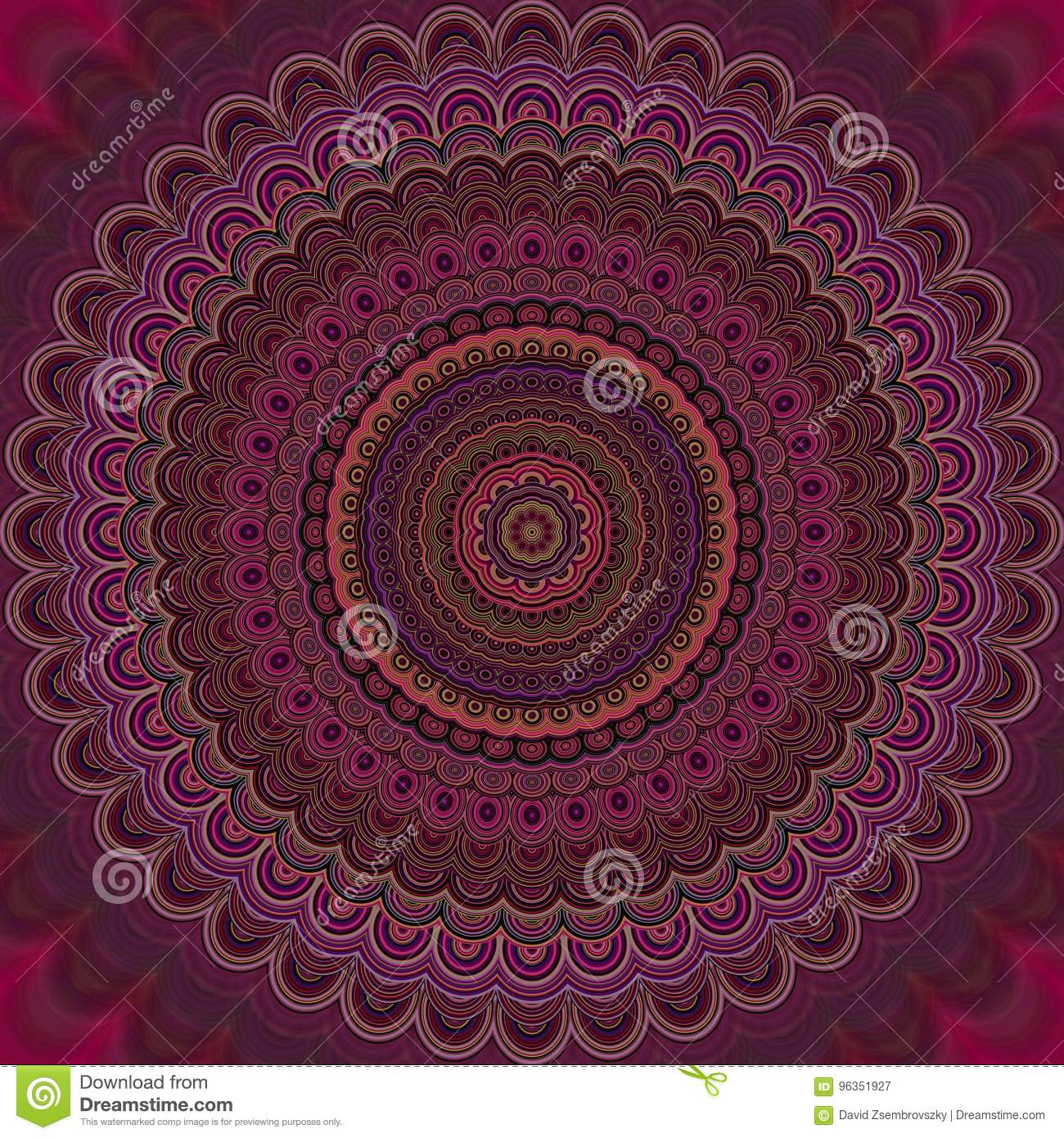 Psychedelic mandala fractal background - round vector pattern design from concentric ellipses