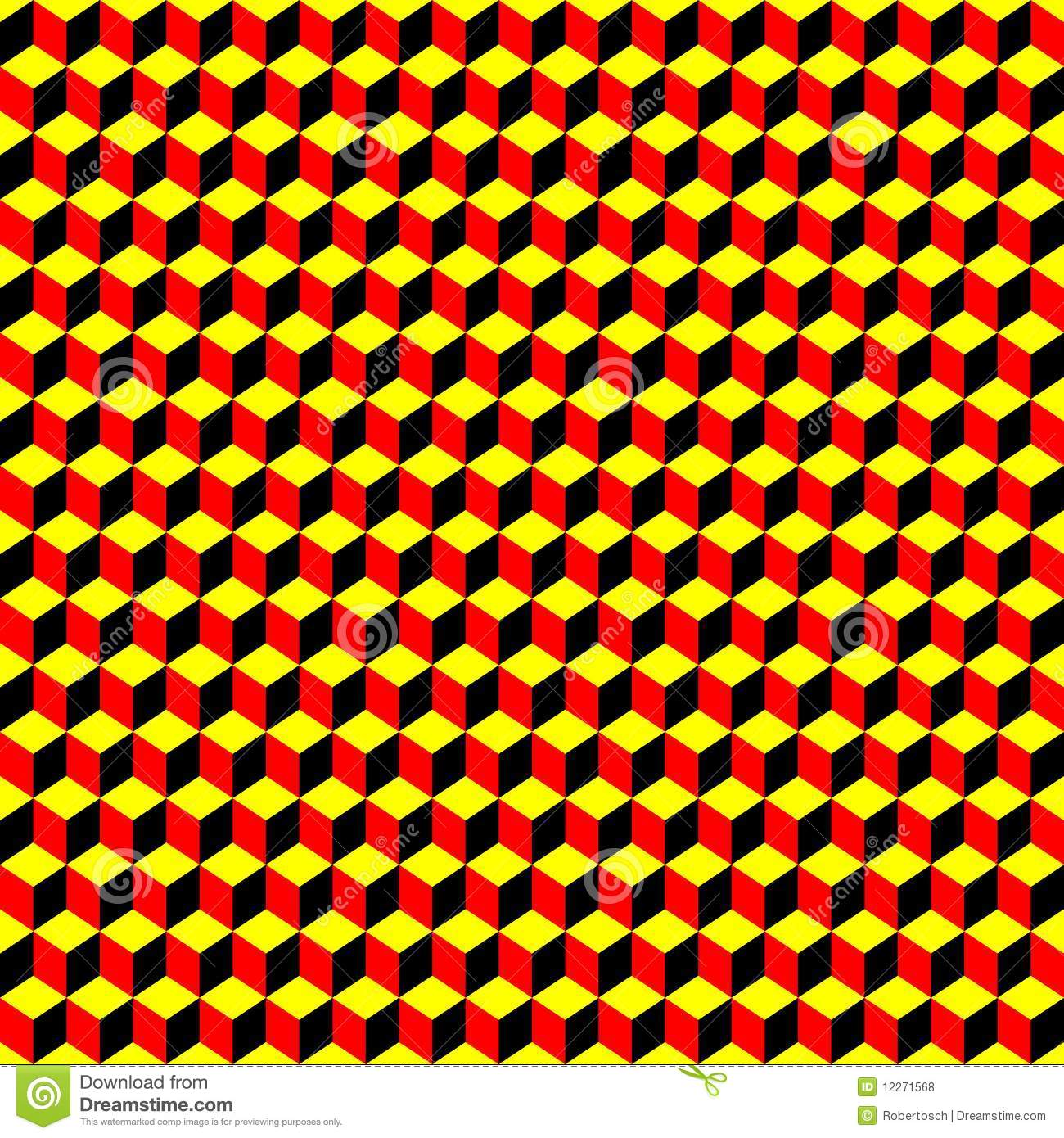 Modern kitchen wallpaper texture - Psychedelic Pattern Black Red Yellow Royalty Free Stock