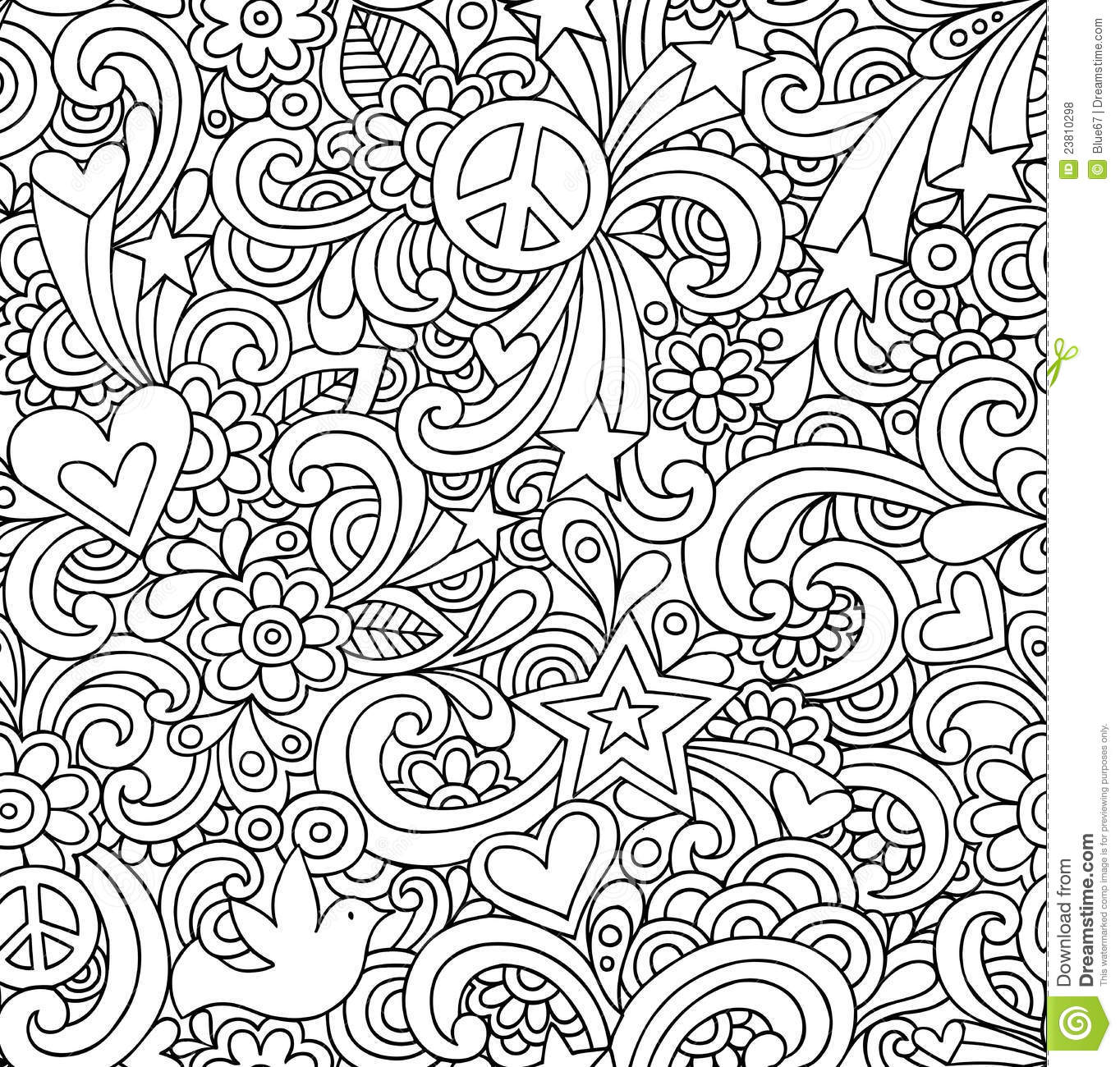Trippy Peace Signs Colouring Pages