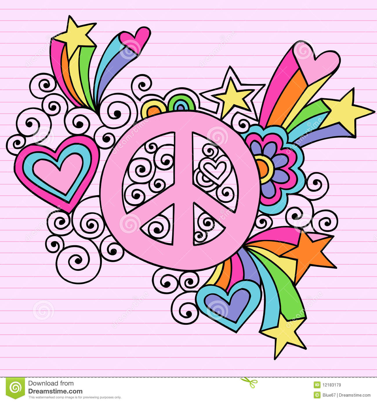 Cool Frame Designs Psychedelic Peace Sign Notebook Doodle Vector Stock Vector