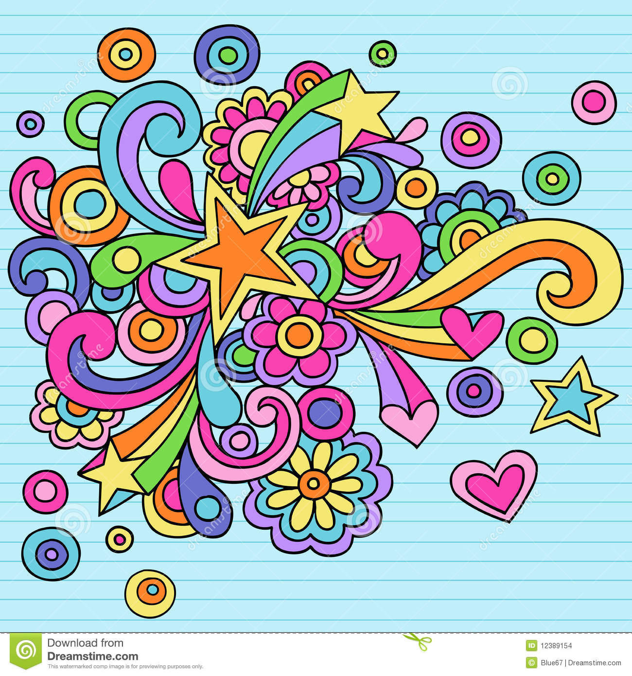 Psychedelic Stars Notebook Doodle Vector Extended Background Stock