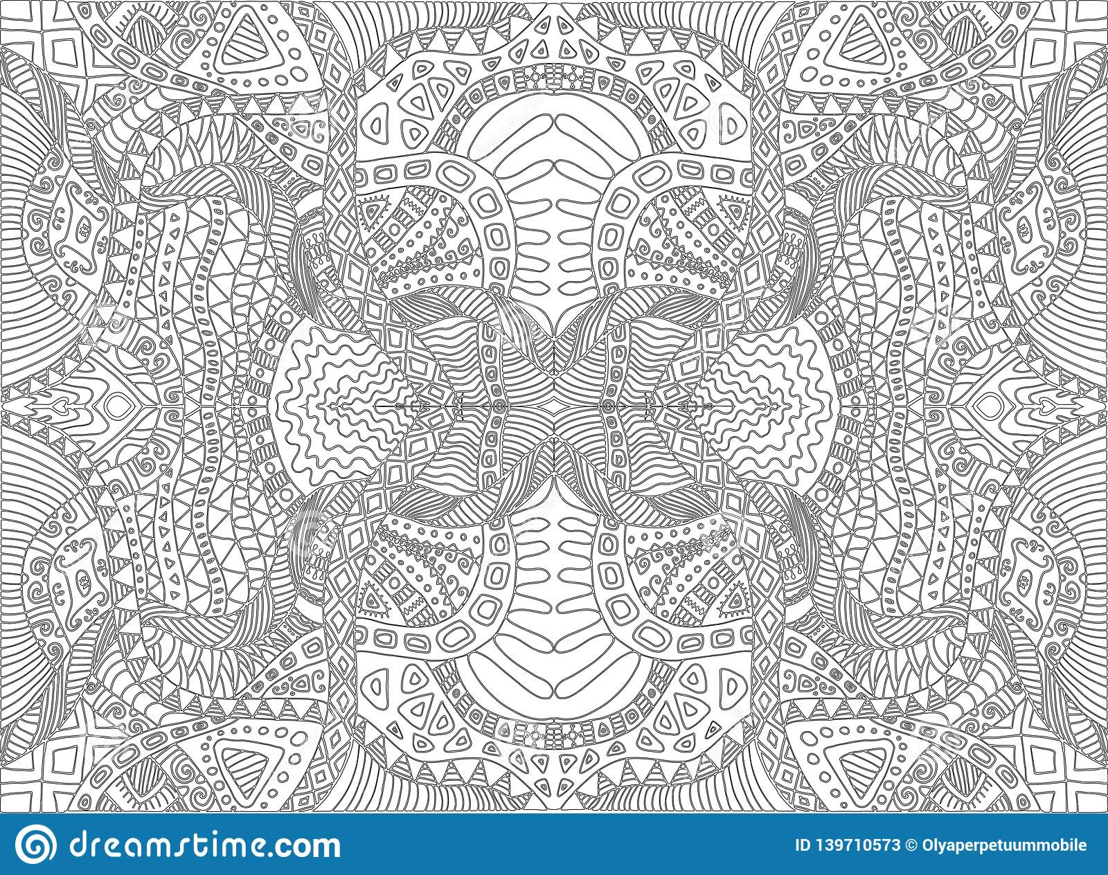 Psychedelic Tribal Surreal Doodle Coloring Page. Hippie Abstract ...