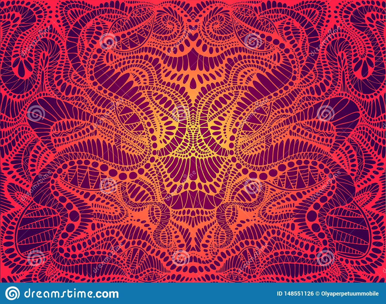 Psychedelic Trippy Colorful Fractal Mandala Gradient Bright Red