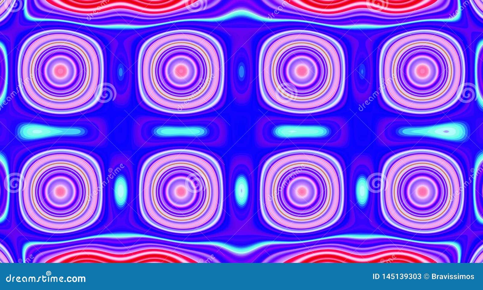 Psychedelische symmetrie abstract patroon en hypnotic achtergrond, kleuren zine cultuur