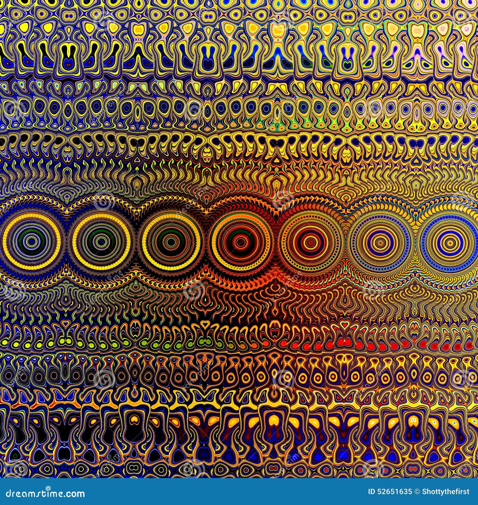 Psychedelisches Buntes Muster Einzigartige Abstrakte Grafik ...