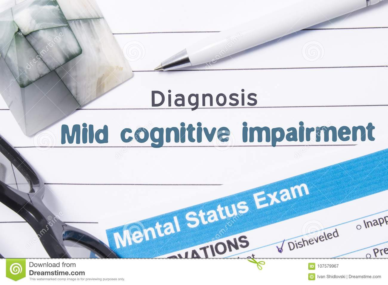 Psychiatric Diagnosis Mild Cognitive Impairment. Medical book or form with the name of diagnosis Mild Cognitive Impairment is on t