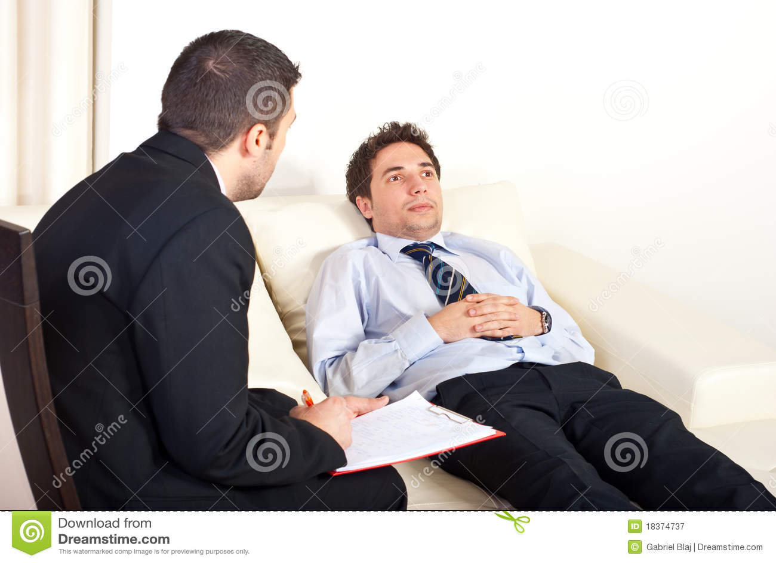 Psychiatrist with male patient