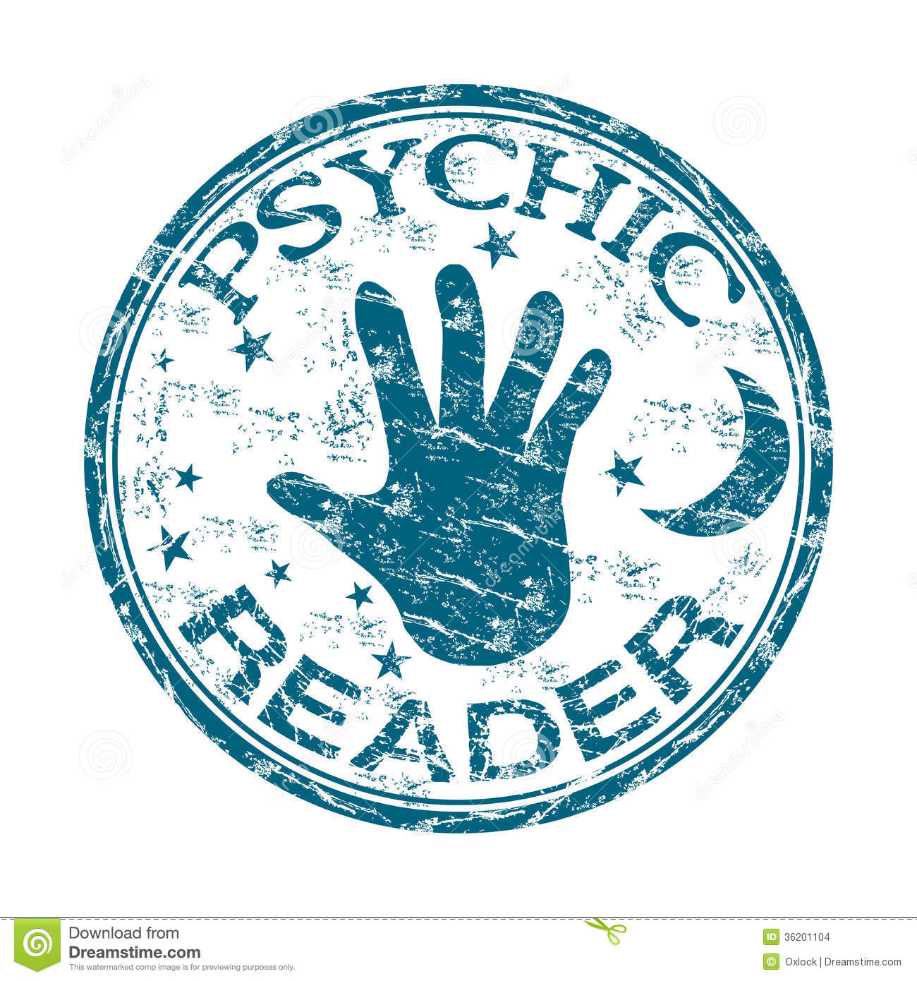 psychic-reader-rubber-stamp-blue-grunge-