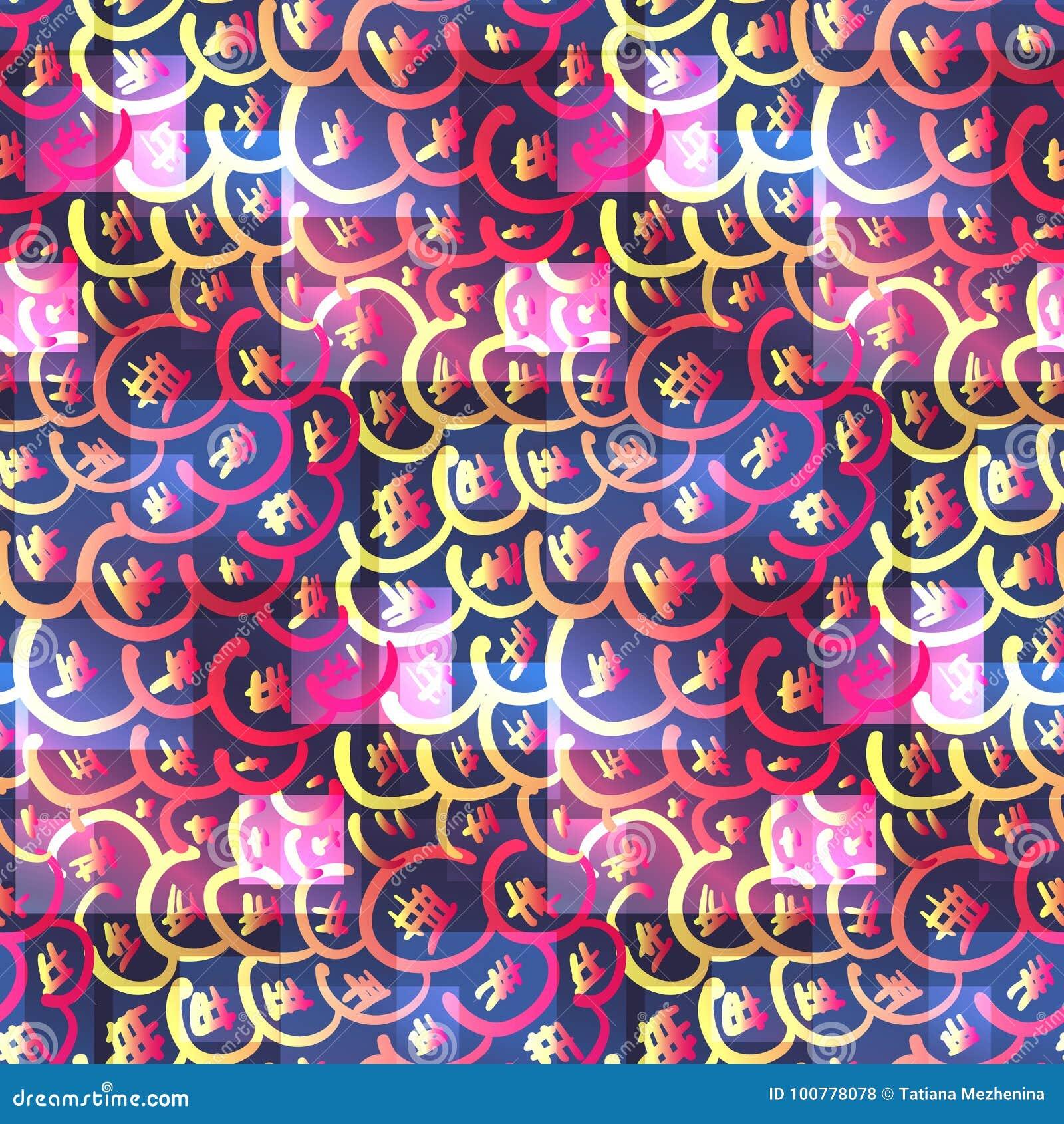 Psychodeliczny kolorowy różowy azjatykci bezszwowy wzór