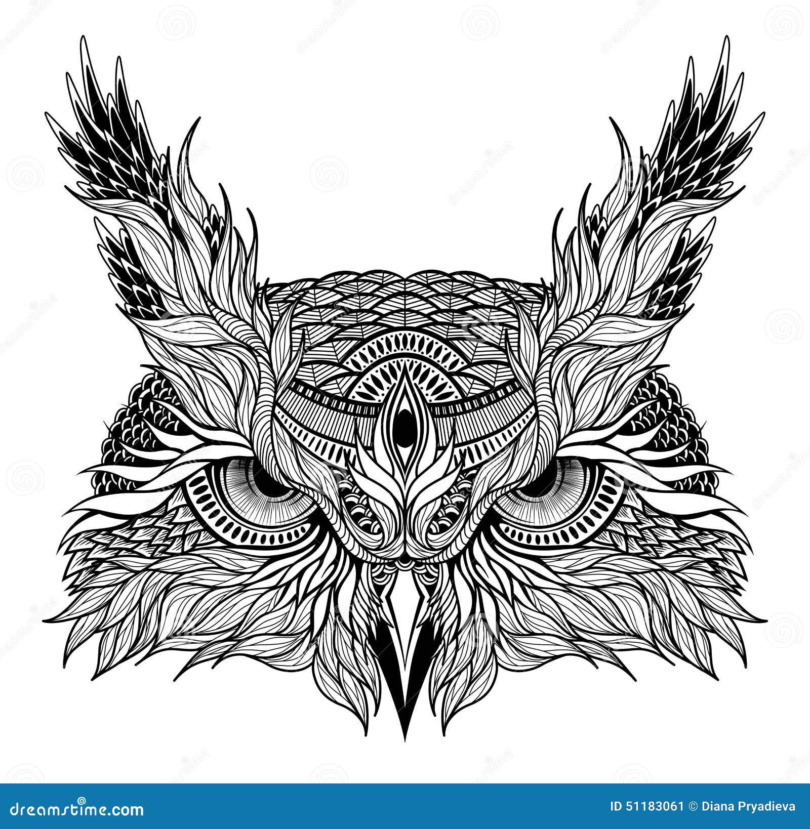 Psychodeliczny sowy głowy tatuaż