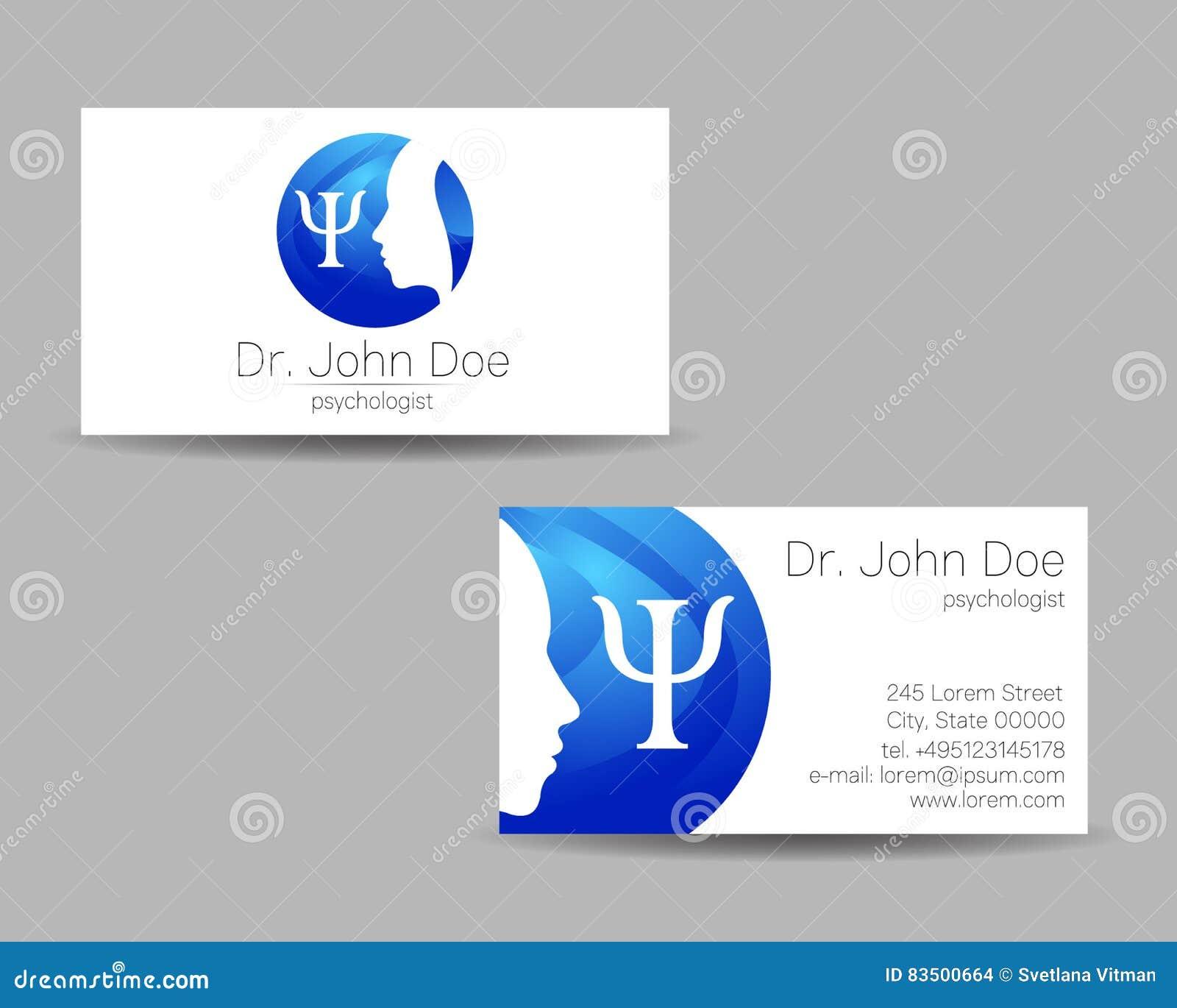 Psychologii wizyty wektorowa karta logo nowożytny Kreatywnie styl Projekta pojęcie